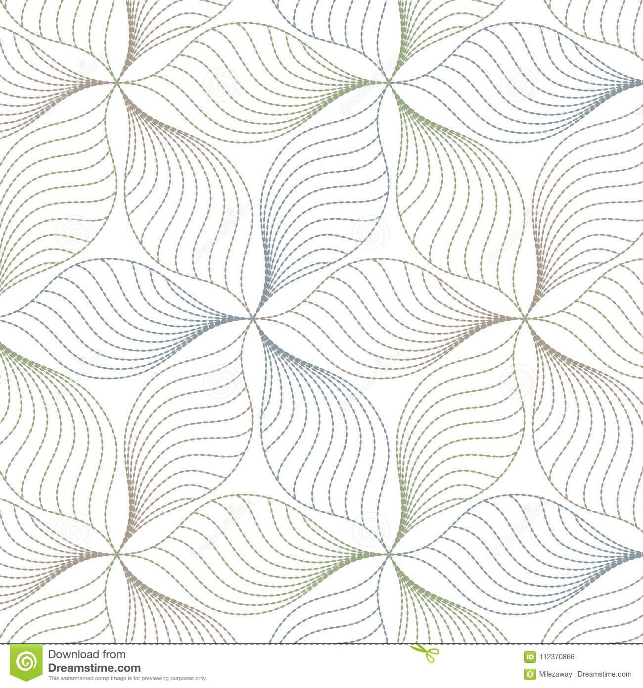 Linear Vector Pattern Repeating Abstract Leaves Line Of Leaf Or Flower Floral