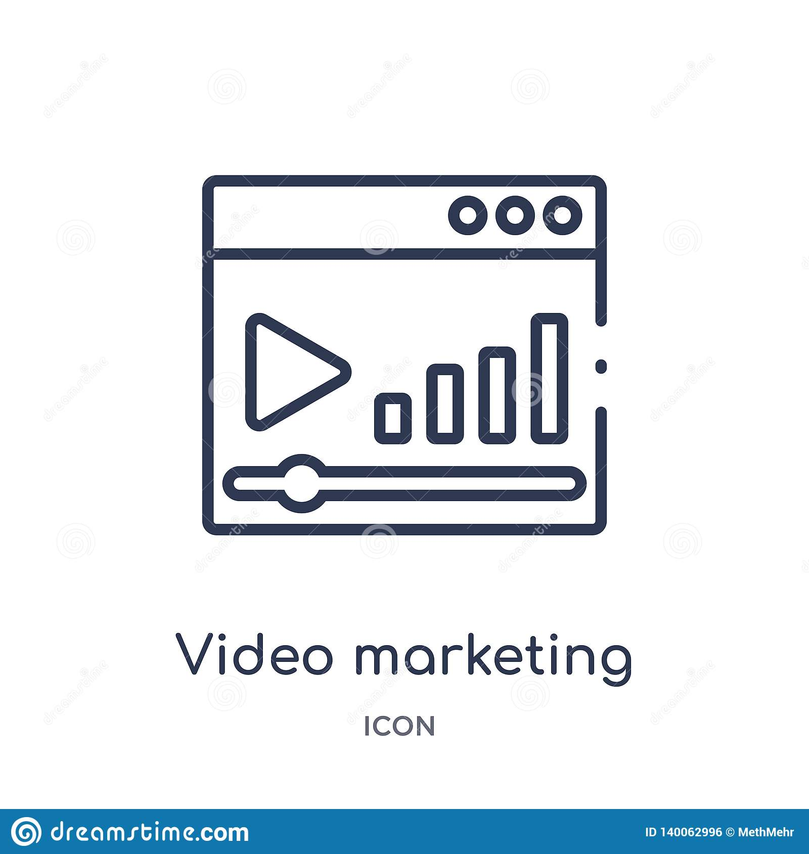 Linear video marketing icon from Marketing outline collection. Thin line video marketing icon isolated on white background. video