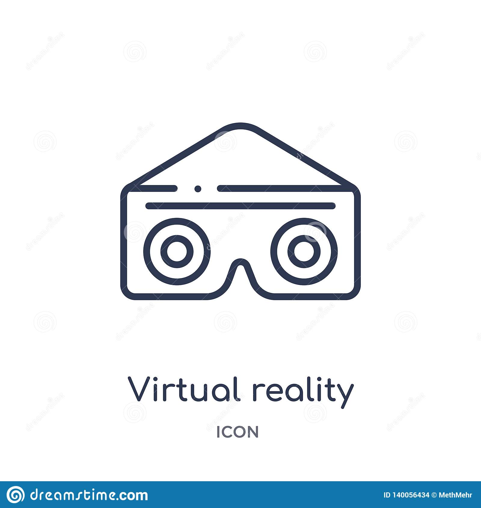 Linear virtual reality glasses icon from Entertainment and arcade outline collection. Thin line virtual reality glasses vector