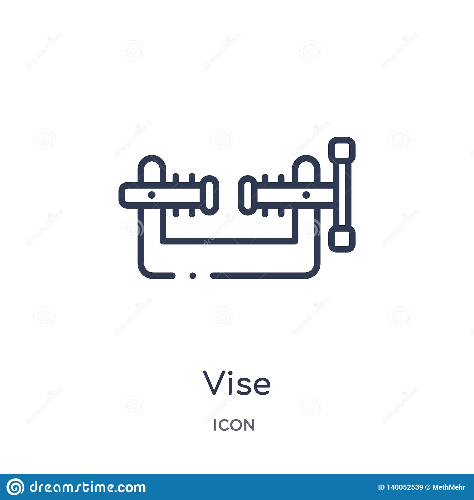 Linear vise icon from Construction outline collection. Thin line vise vector isolated on white background. vise trendy