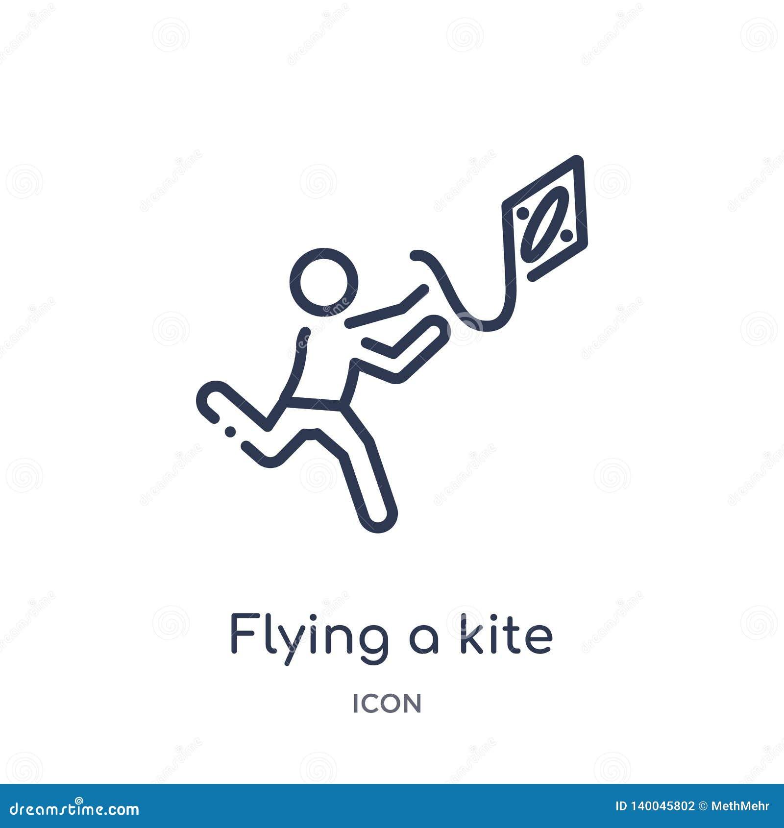 Linear volando un icono de la cometa de la actividad y de la colección del esquema de las aficiones Línea fina vuelo un vector de