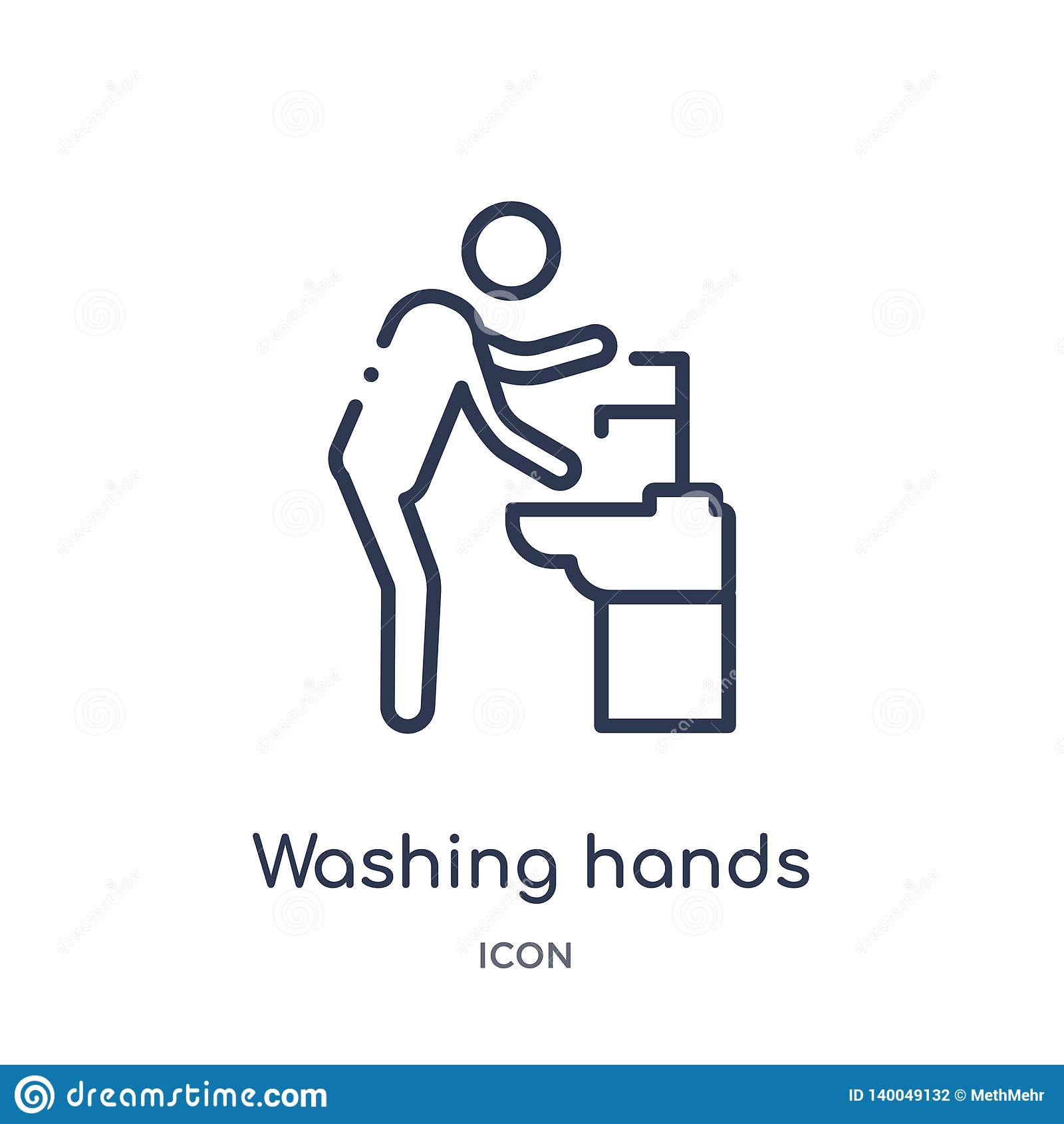 Linear washing hands icon from Behavior outline collection. Thin line washing hands vector isolated on white background. washing