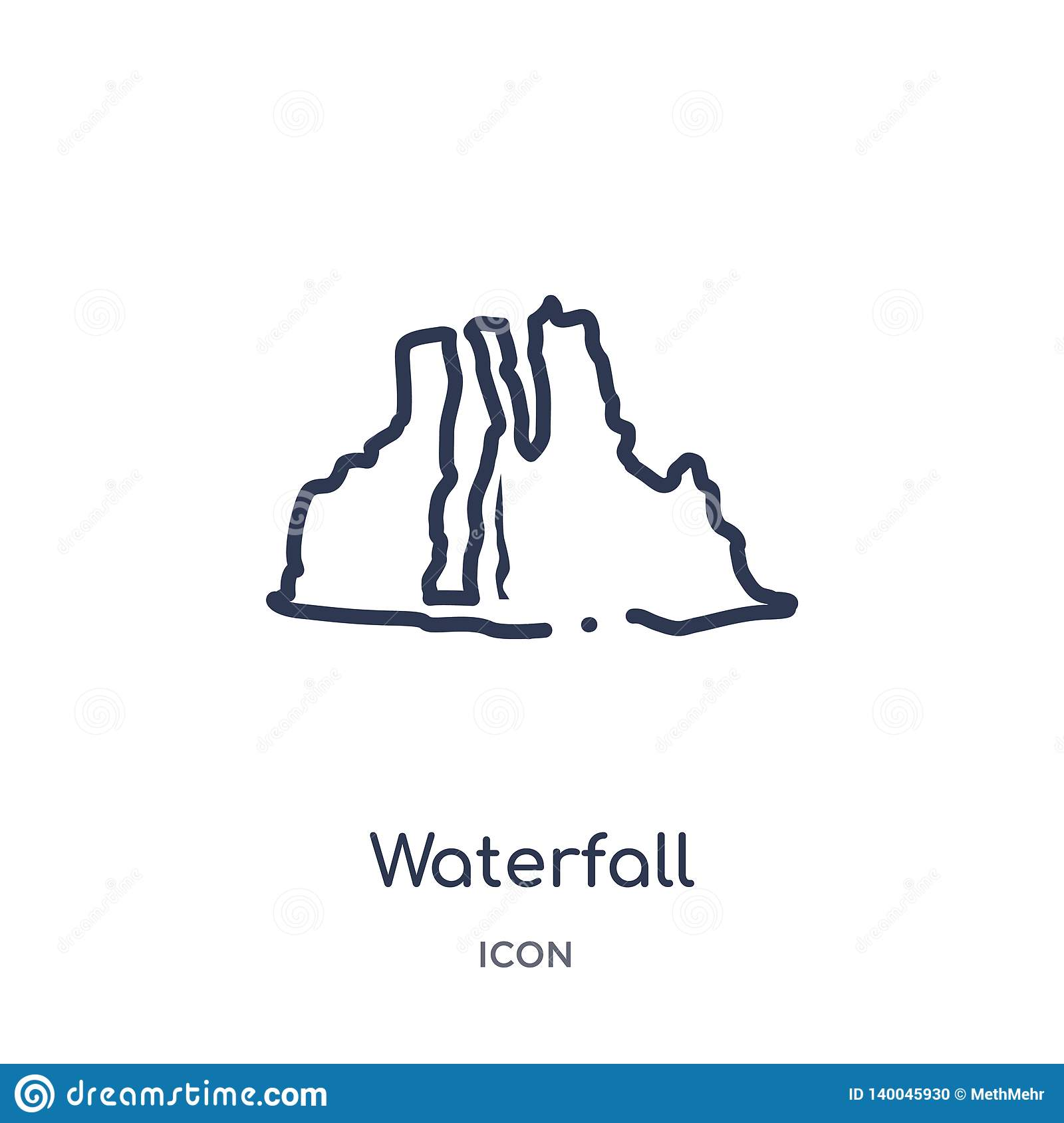 Linear waterfall icon from Africa outline collection. Thin line waterfall vector isolated on white background. waterfall trendy