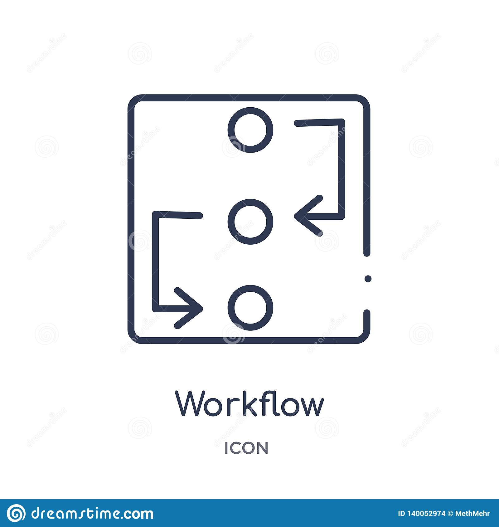 Linear workflow icon from Creative process outline collection. Thin line workflow vector isolated on white background. workflow