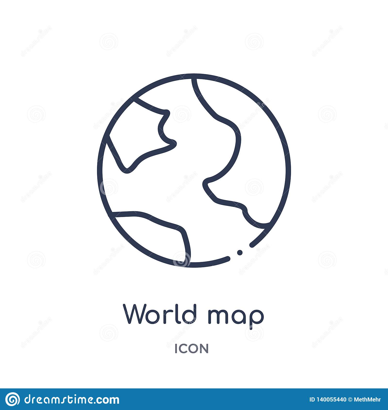 Linear world map icon from Education outline collection. Thin line world map vector isolated on white background. world map trendy