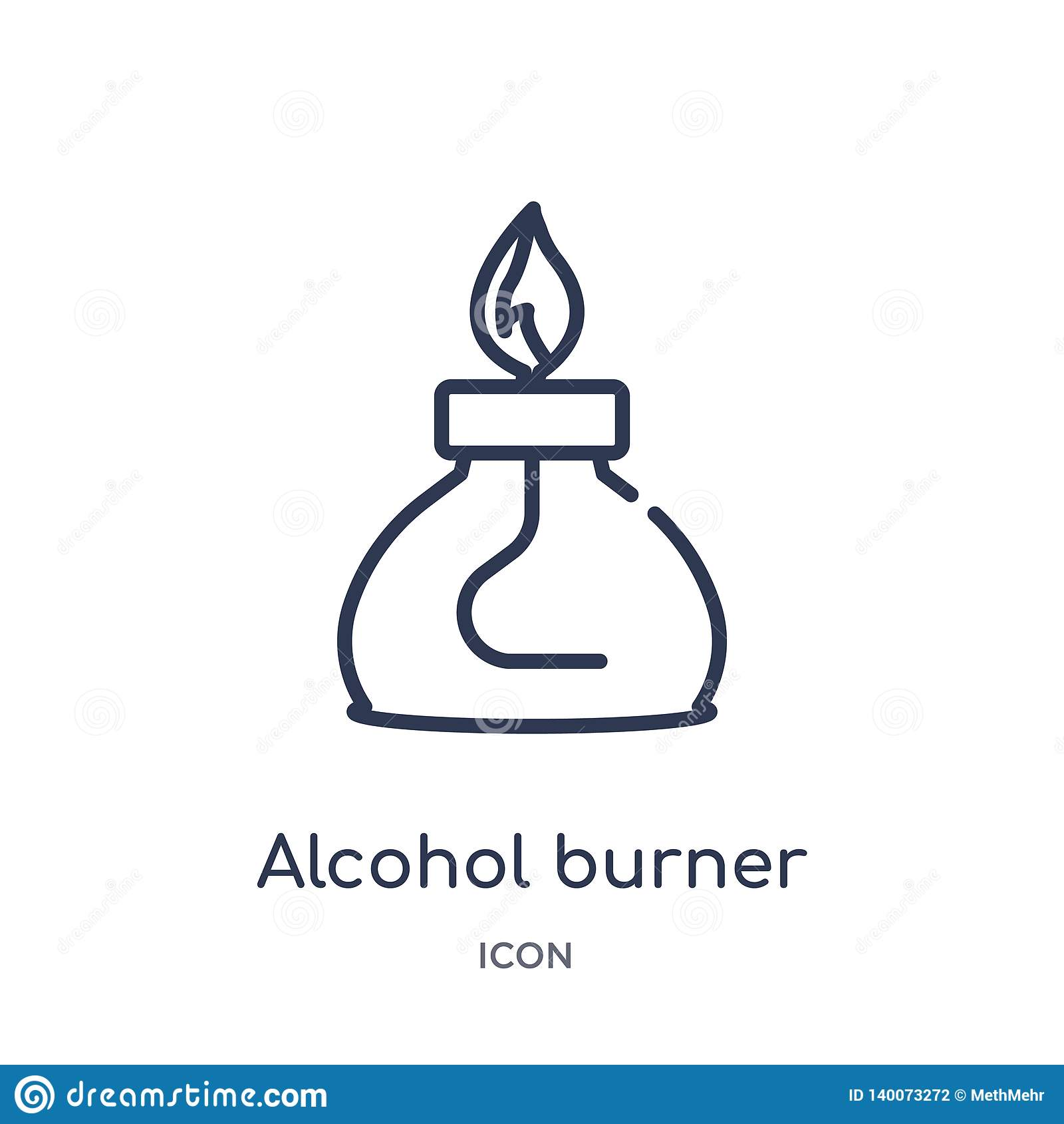 Lineare Alkoholbrennerikone von der Grundzügesammlung Dünne Linie Alkoholbrennerikone lokalisiert auf weißem Hintergrund alcohol