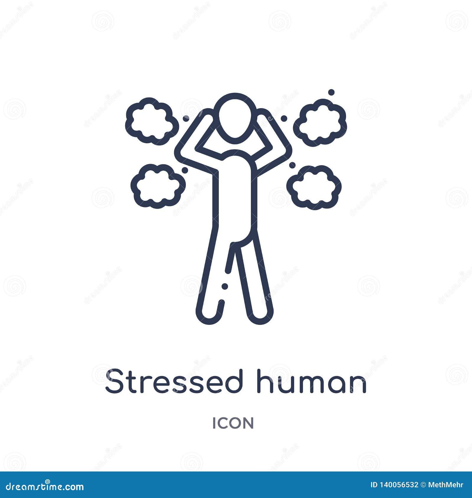Lineare betonte menschliche Ikone von der Gefühlsentwurfssammlung Die dünne Linie betonte menschlichen Vektor lokalisiert auf wei