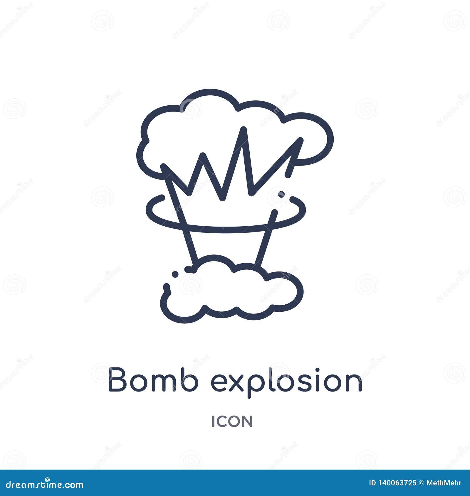 Lineare Bombenexplosionsikone von der Meteorologieentwurfssammlung Dünne Linie Bombenexplosionsikone lokalisiert auf weißem Hinte
