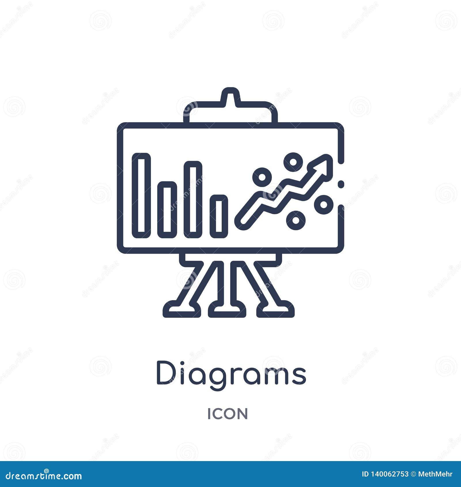 Lineare Diagrammikone von vermarktender Entwurfssammlung Dünnes Liniendiagramm die Ikone, die auf weißem Hintergrund lokalisiert