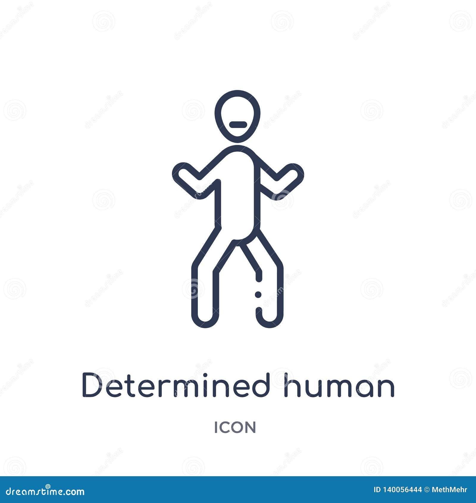 Lineare entschlossene menschliche Ikone von der Gefühlsentwurfssammlung Die dünne Linie bestimmte menschlichen Vektor lokalisiert