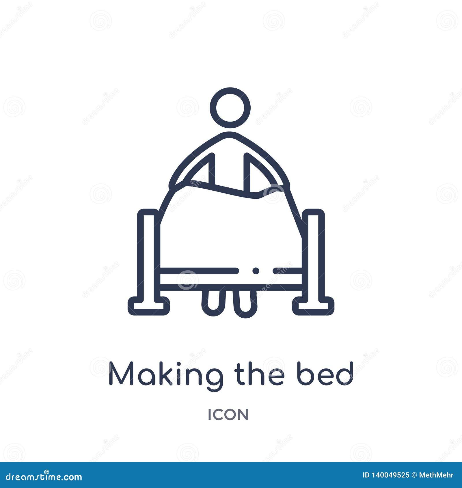 Lineare facendo l icona del letto dalla raccolta del profilo di comportamento Linea sottile che fa il vettore del letto isolato s