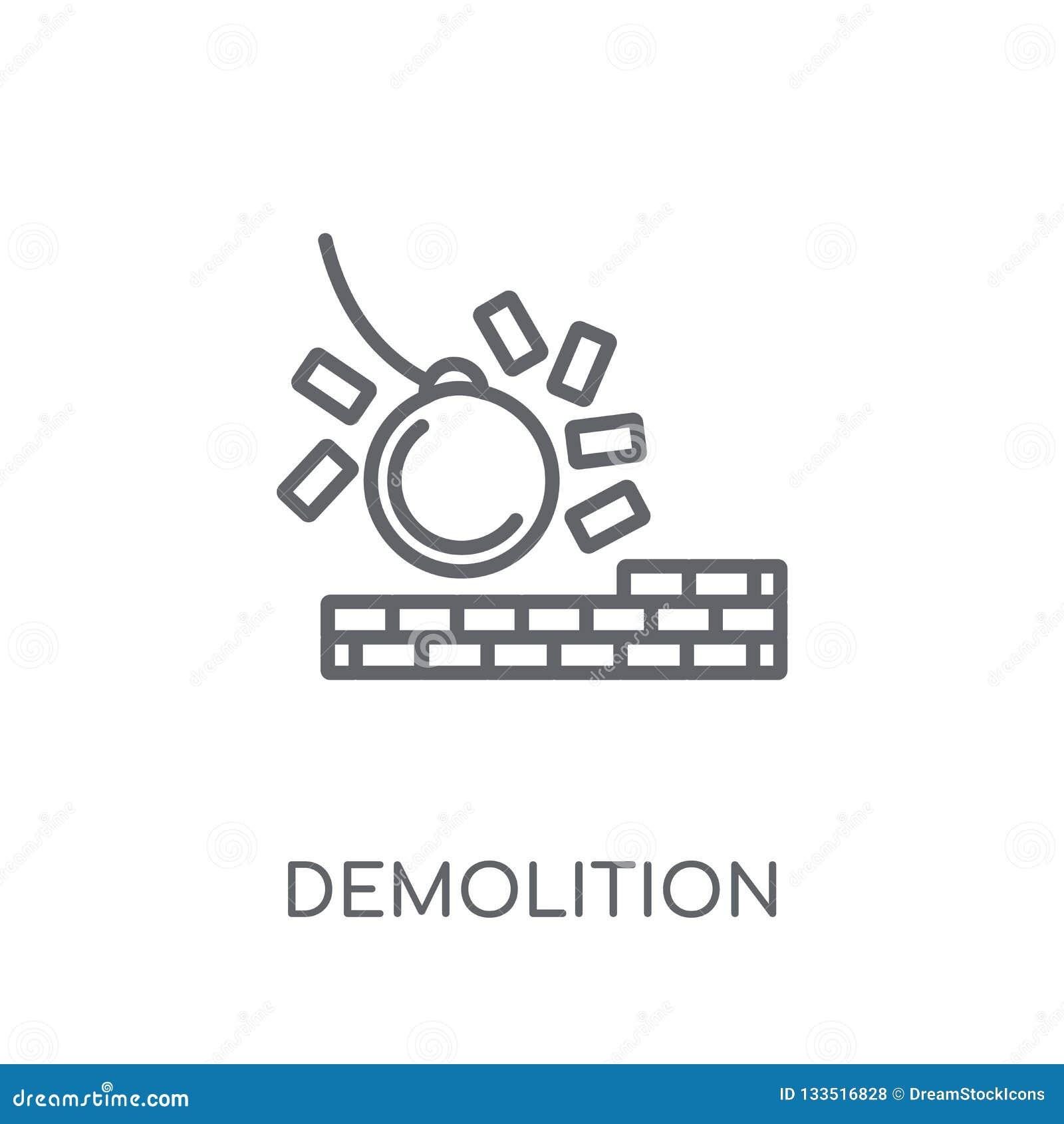 Lineare Ikone der Demolierung Modernes Entwurf Demolierungs-Logokonzept O
