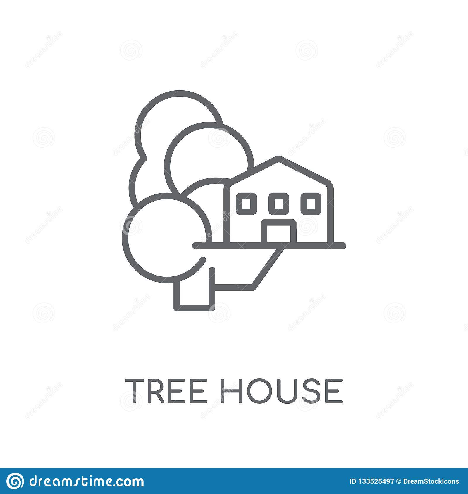 Lineare Ikone des Baumhauses Modernes Entwurf Baumhaus-Logokonzept O