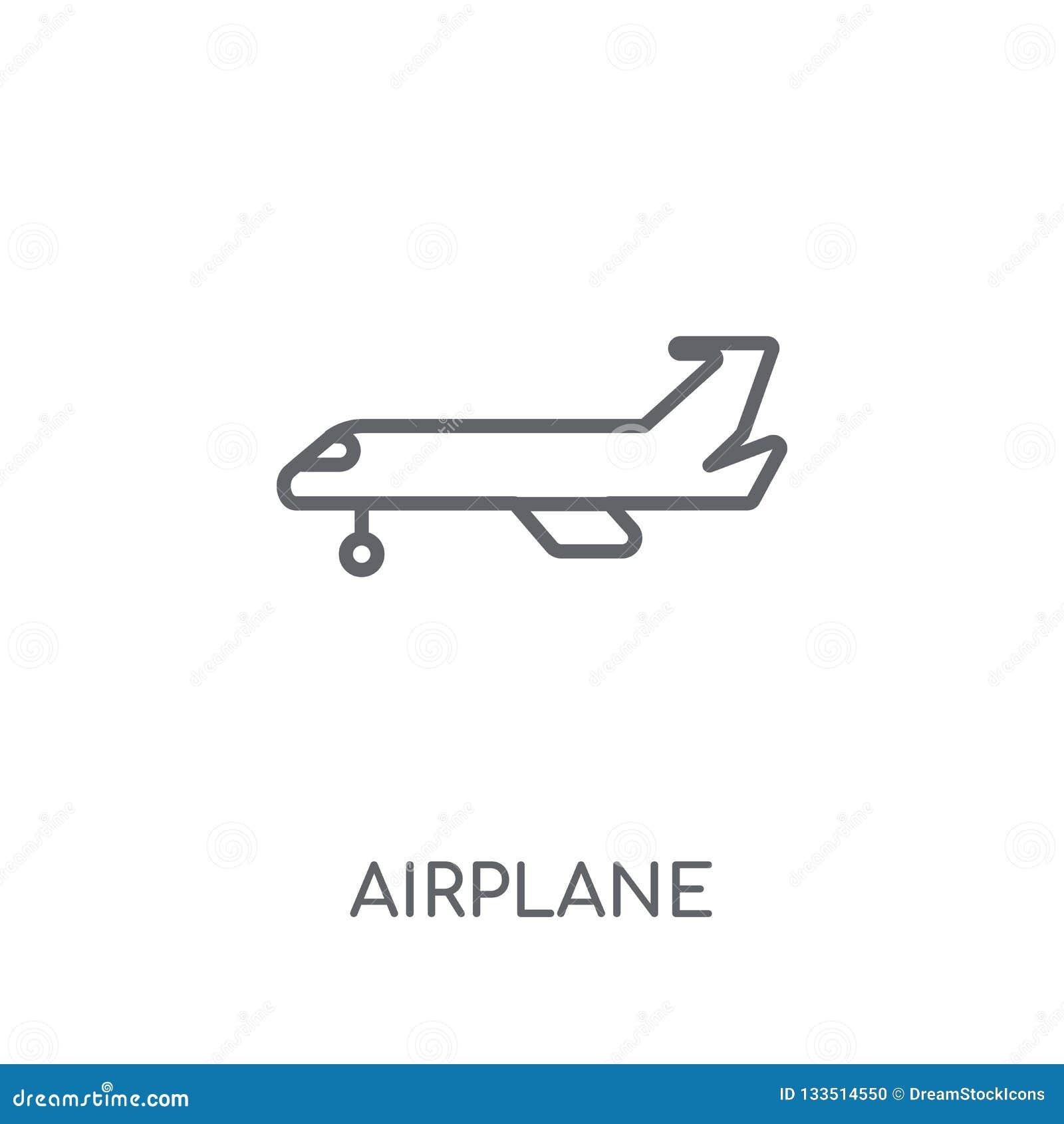 Lineare Ikone des Flugzeuges Modernes Entwurf Flugzeug-Logokonzept auf wh