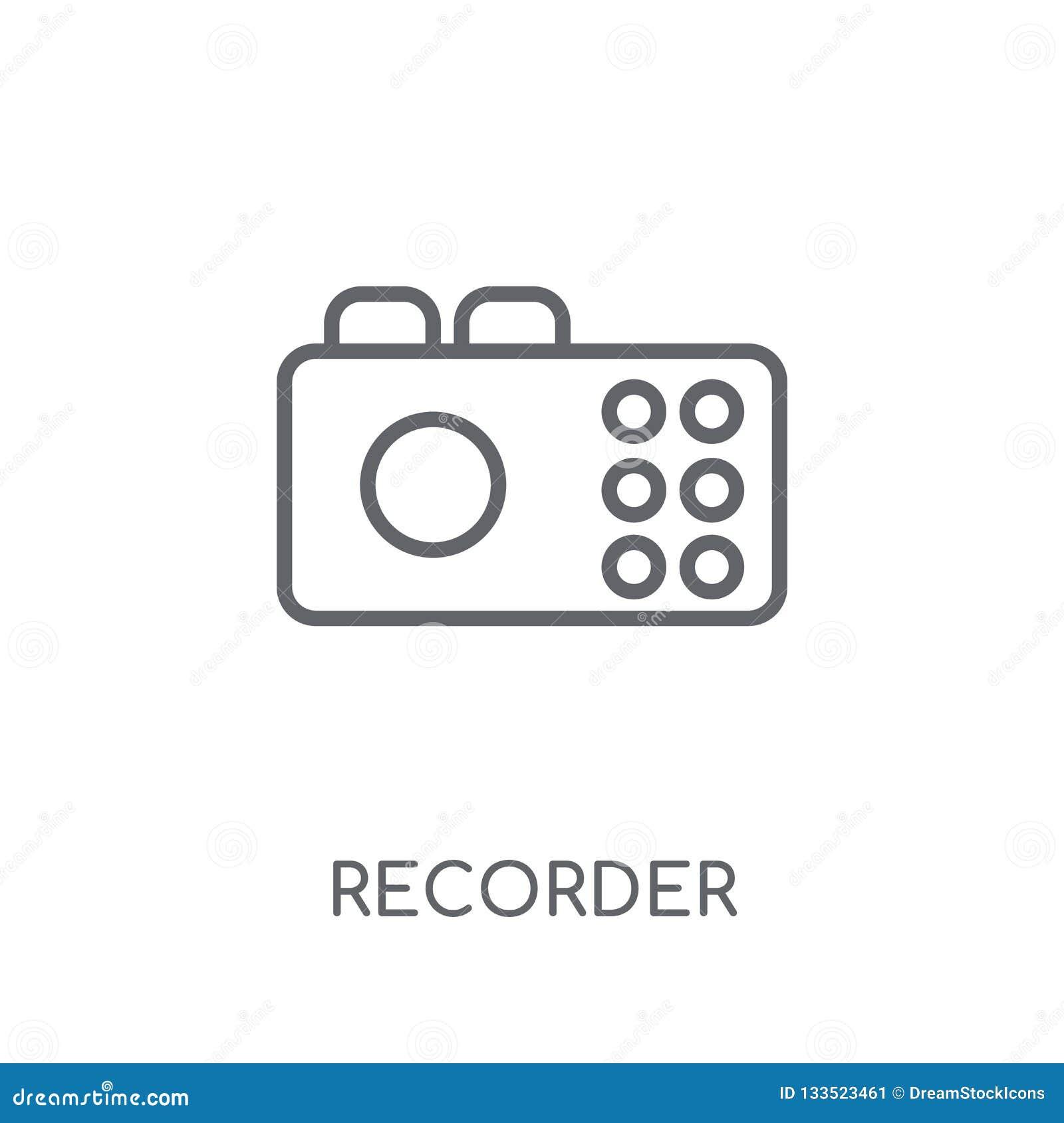 Lineare Ikone des Recorders Modernes Entwurf Recorder-Logokonzept auf wh