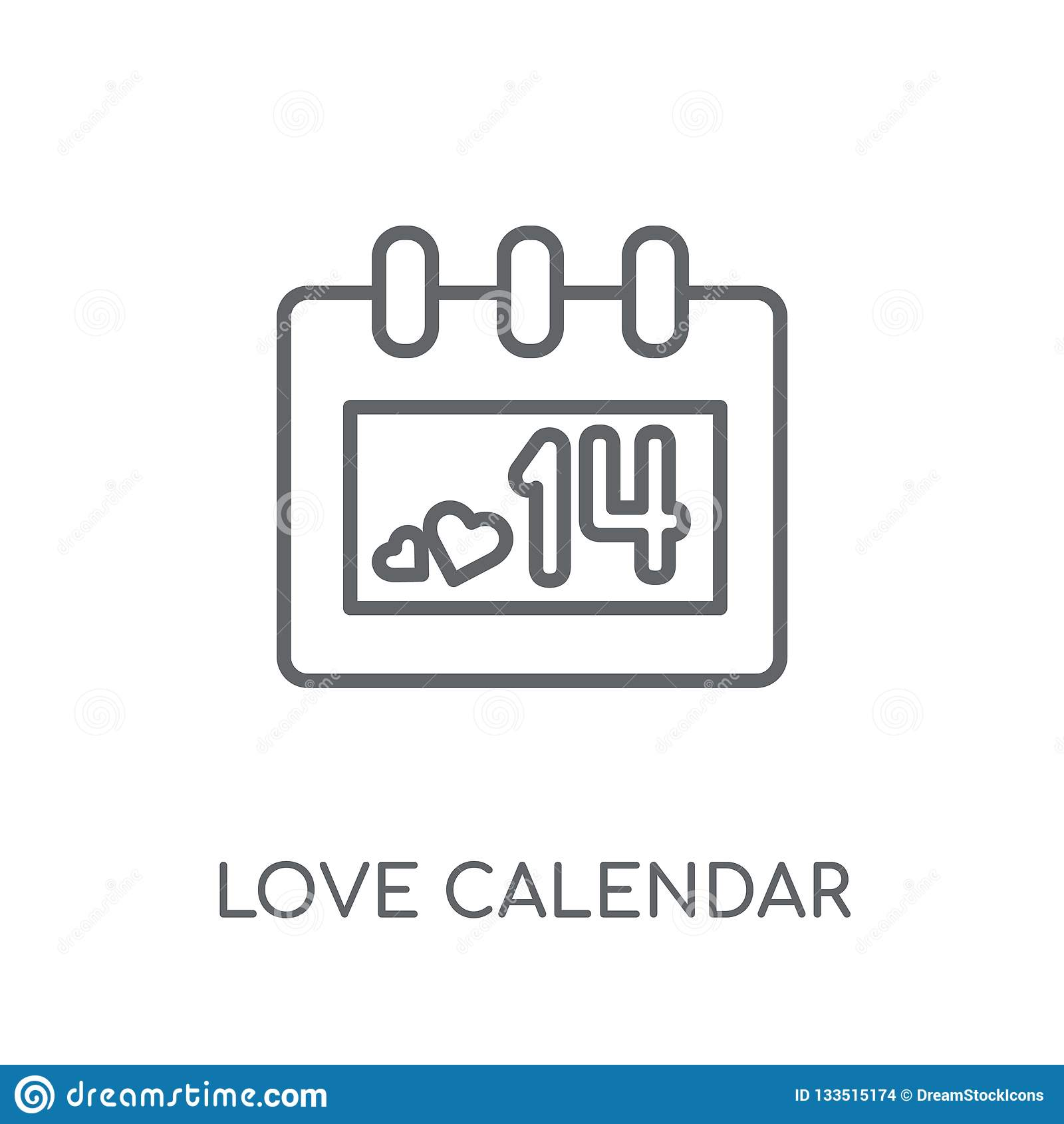 Lineare Ikone Liebe Kalenders Moderner Entwurfsliebe Kalender-Logobetrug