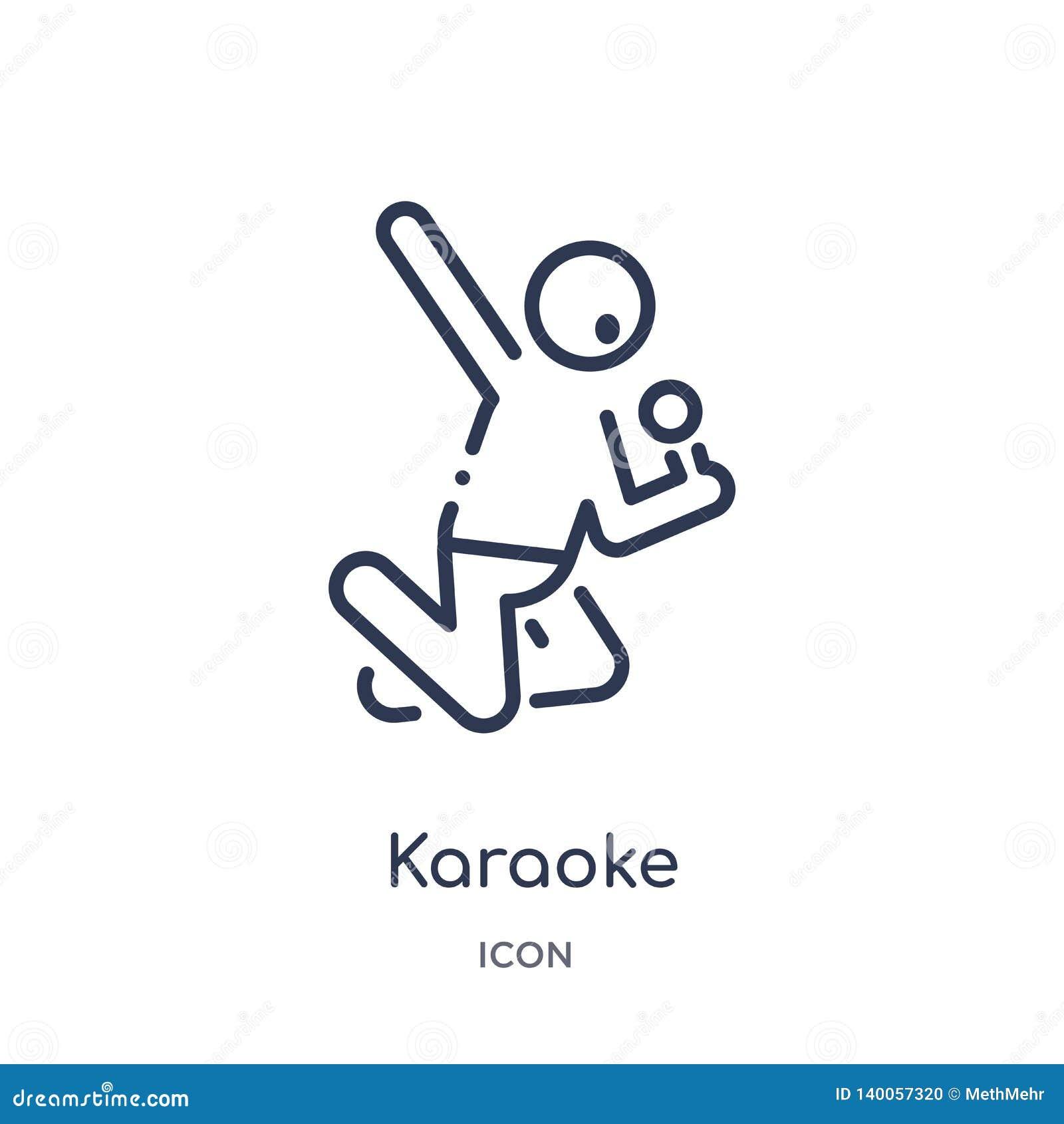 Lineare Karaokeikone von der Freizeitentwurfssammlung Dünne Linie Karaokevektor lokalisiert auf weißem Hintergrund Karaoke modisc