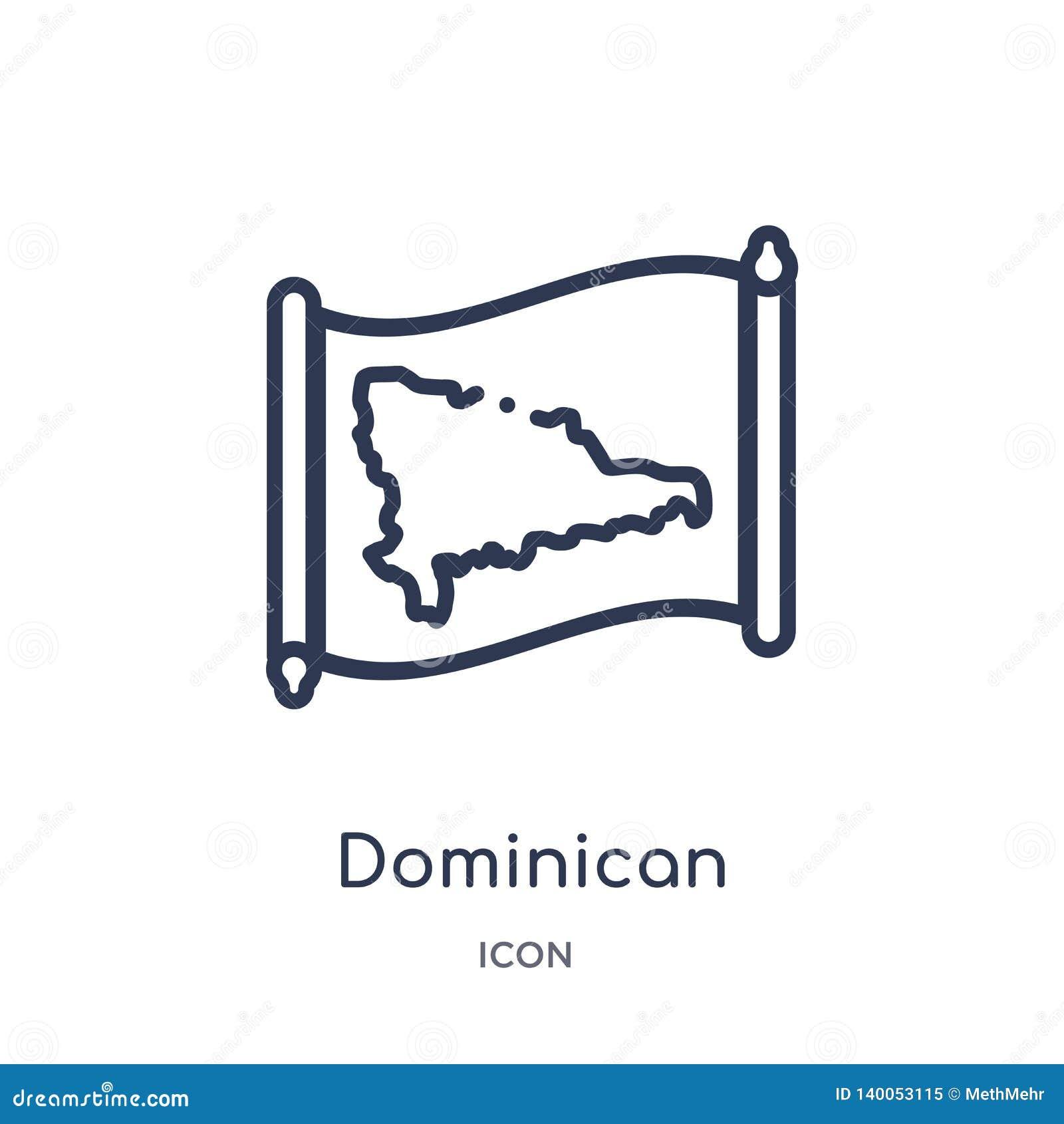 Lineare Kartenikone der Dominikanischen Republik von der Countrymaps-Entwurfssammlung Dünne Linie Kartenvektor der Dominikanische
