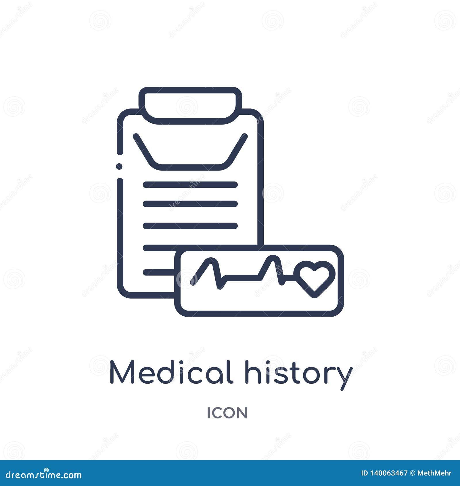 Lineare Krankengeschichteikone von der medizinischen Entwurfssammlung Dünne Linie Krankengeschichteikone lokalisiert auf weißem H