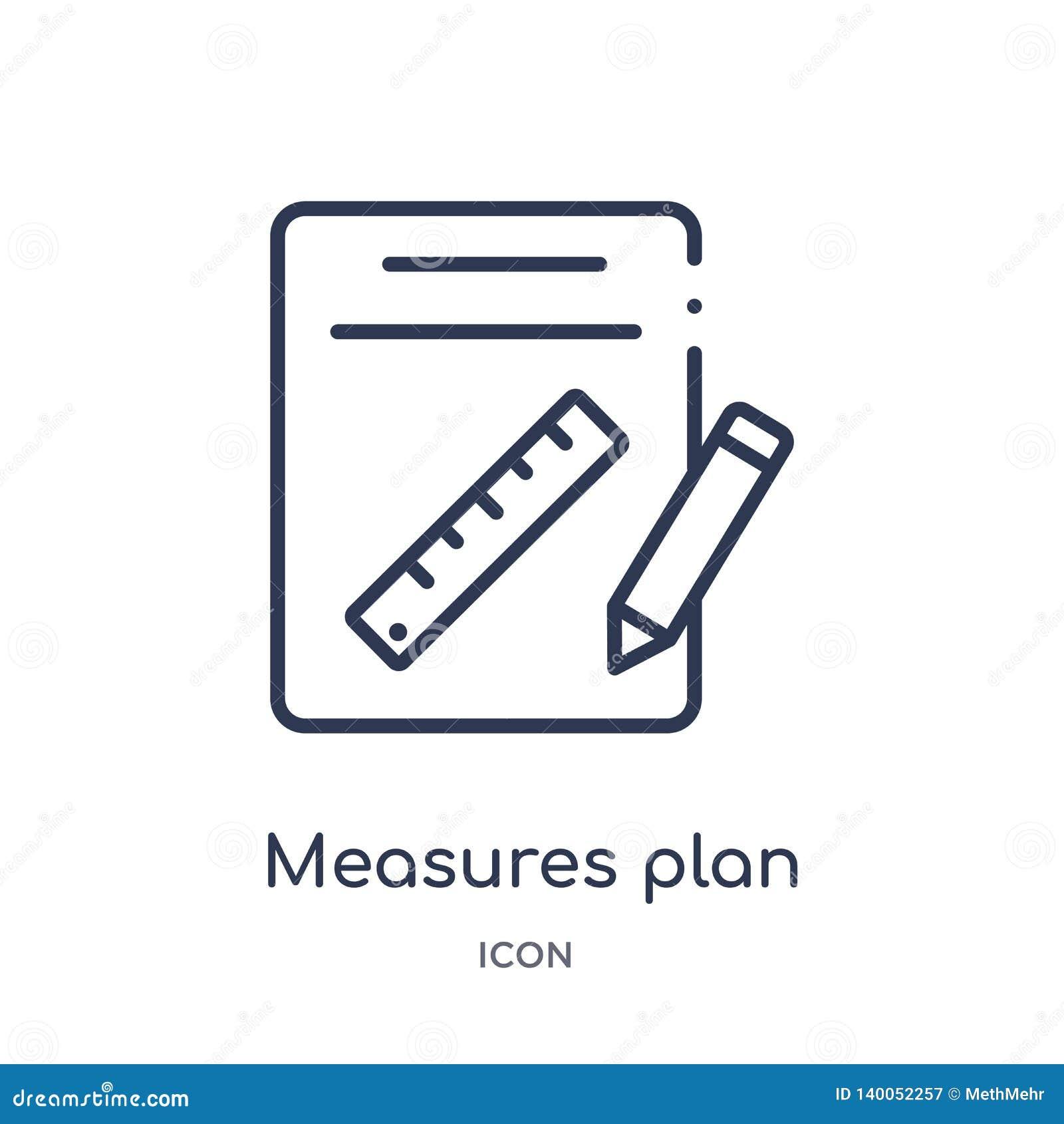 Lineare Maße planen Ikone von der Bauentwurfssammlung Dünne Satzbreiten planen den Vektor, der auf weißem Hintergrund lokalisiert
