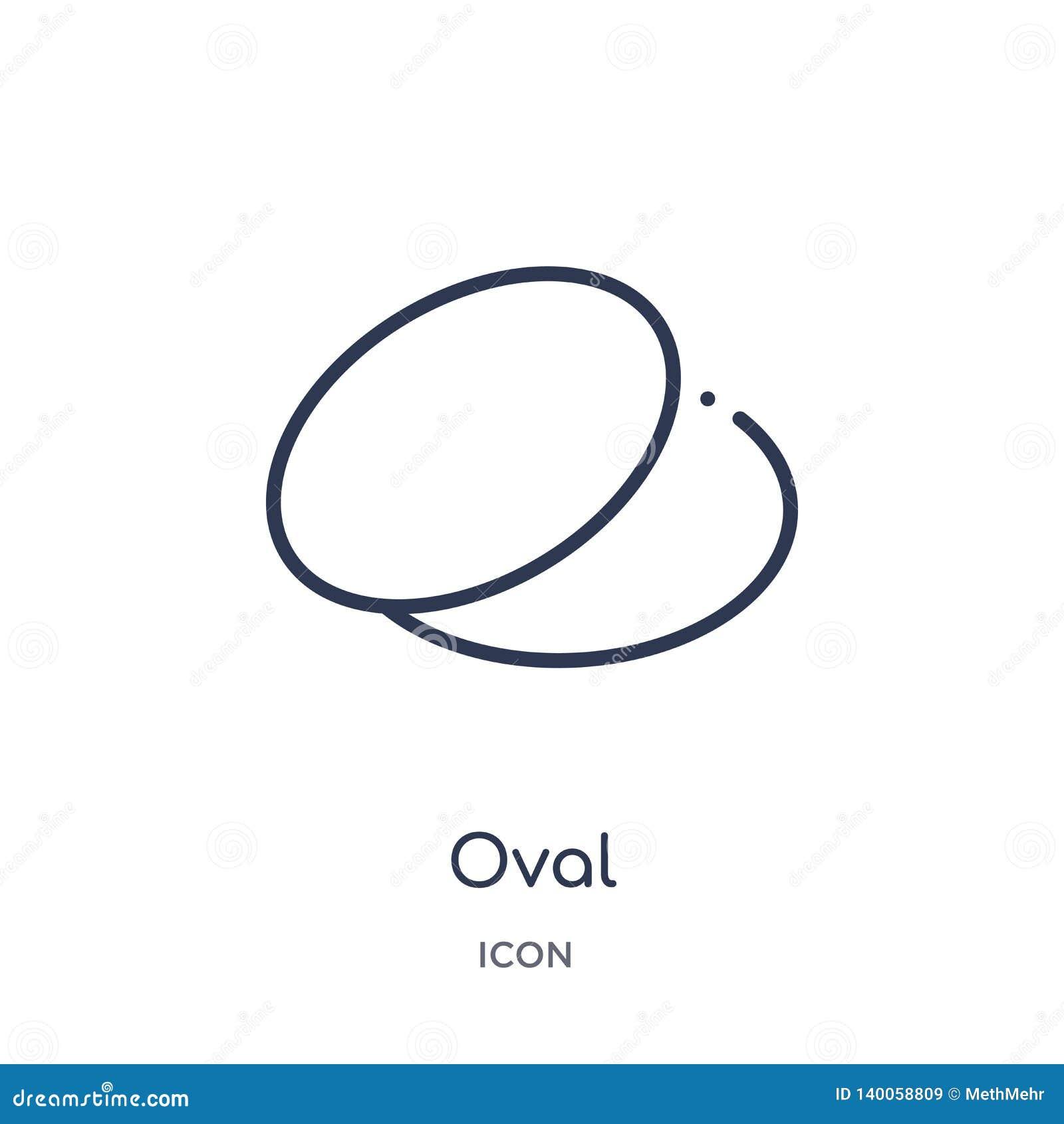 Lineare ovale Ikone von der geometrischen Zahl Entwurfssammlung Dünne Linie ovale Ikone lokalisiert auf weißem Hintergrund ovales
