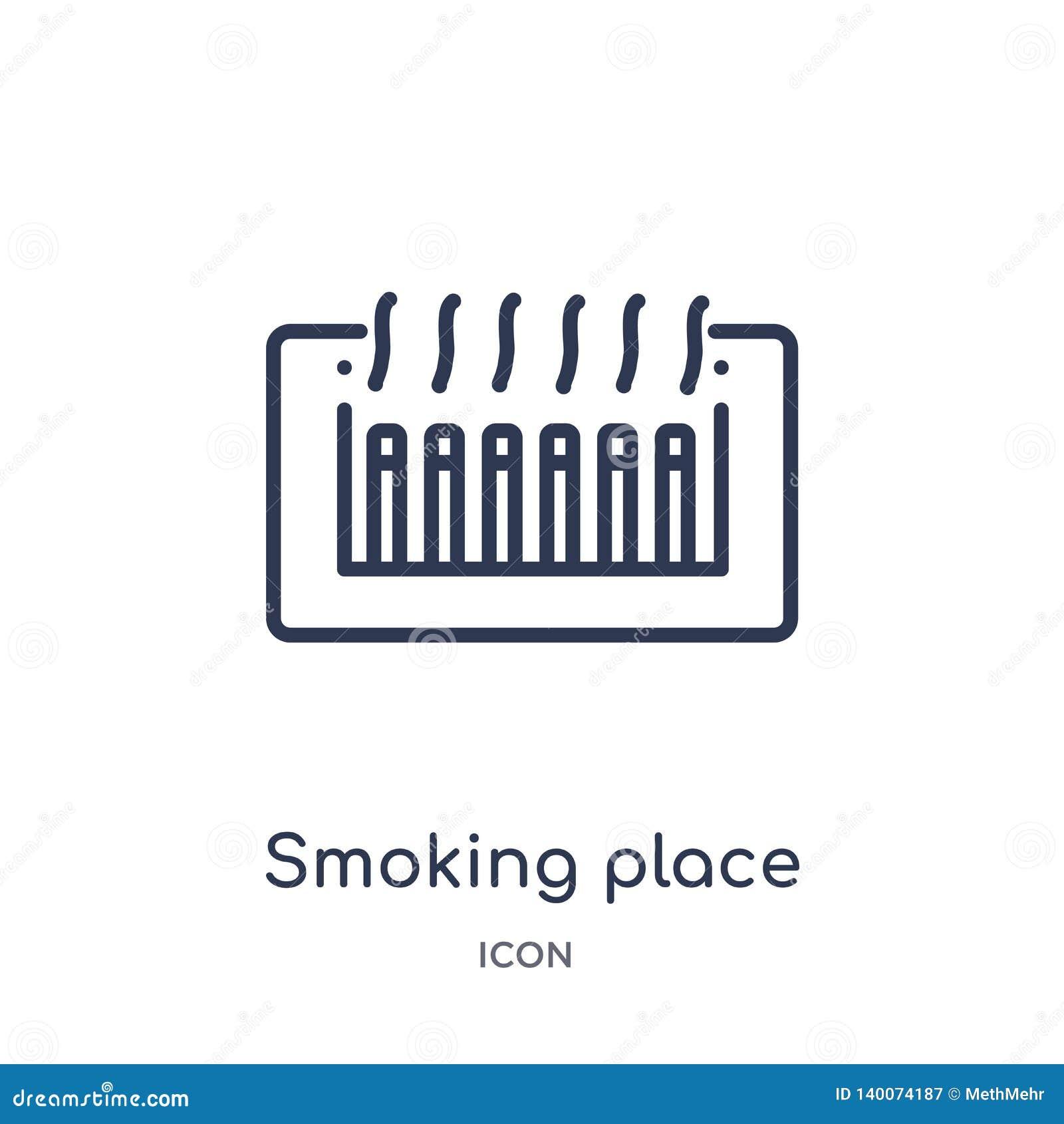 Lineare rauchende Platzikone vom Karten- und Flaggenentwurf Sammlung Dünne Linie rauchende Platzikone lokalisiert auf weißem Hint