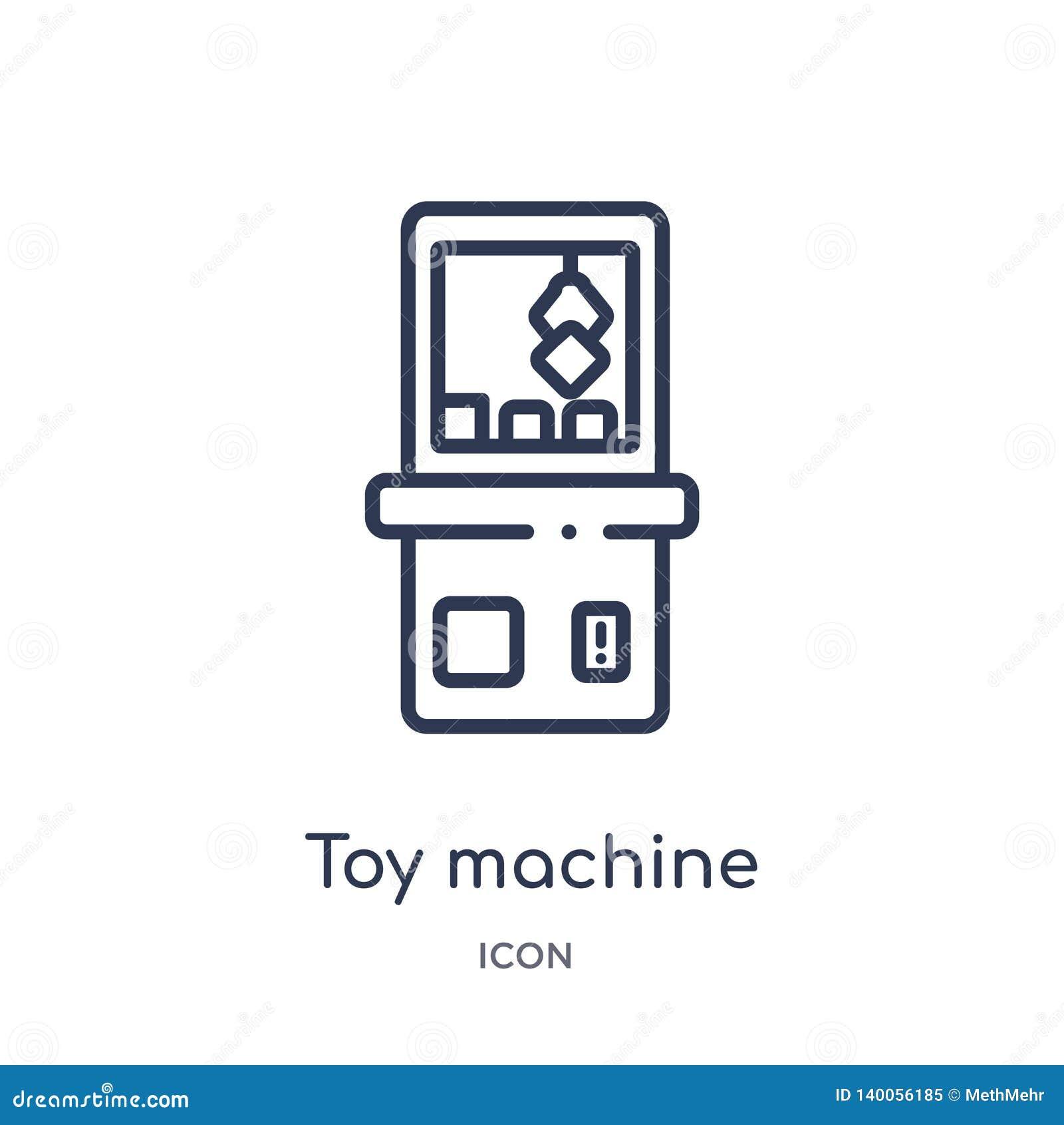 Lineare Spielzeugmaschinenikone von der Unterhaltung und von der Säulengangentwurfssammlung Dünne Linie Spielzeugmaschinenvektor