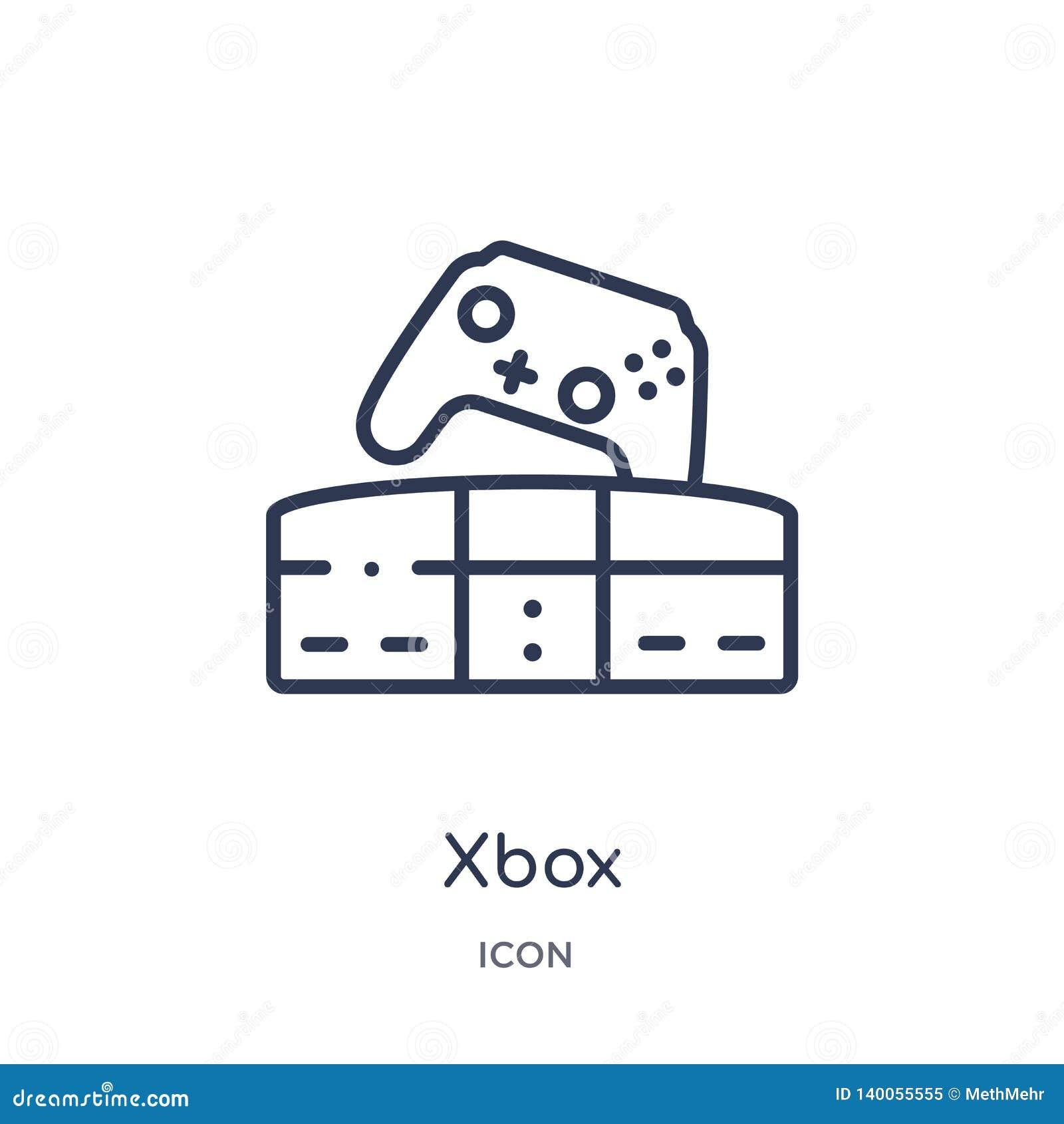 Lineare xbox Ikone von der Unterhaltung und von der Säulengangentwurfssammlung Dünne Linie xbox Vektor lokalisiert auf weißem Hin