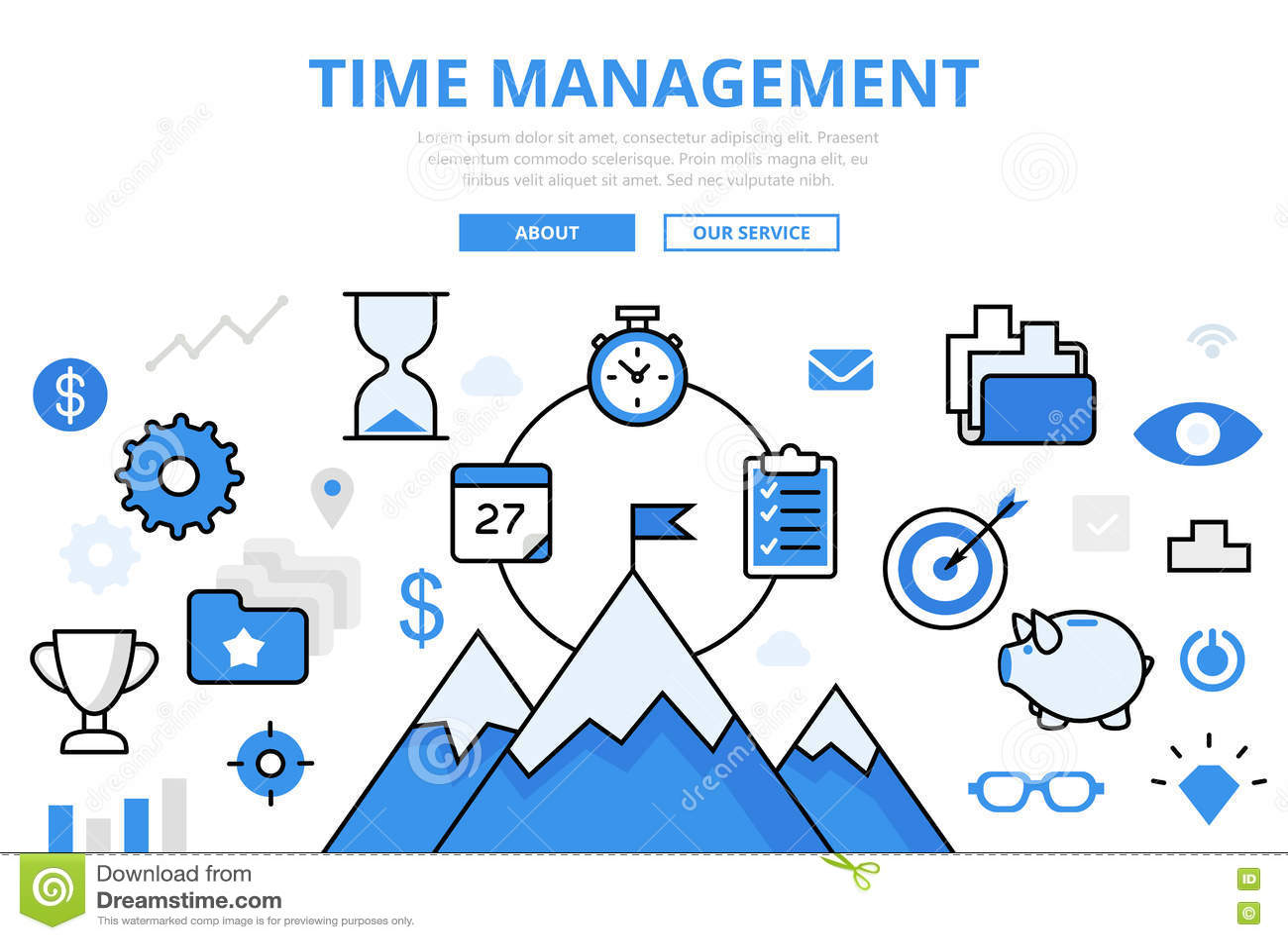 Lineares flaches Geschäft ZEIT-MANAGEMENT infographic