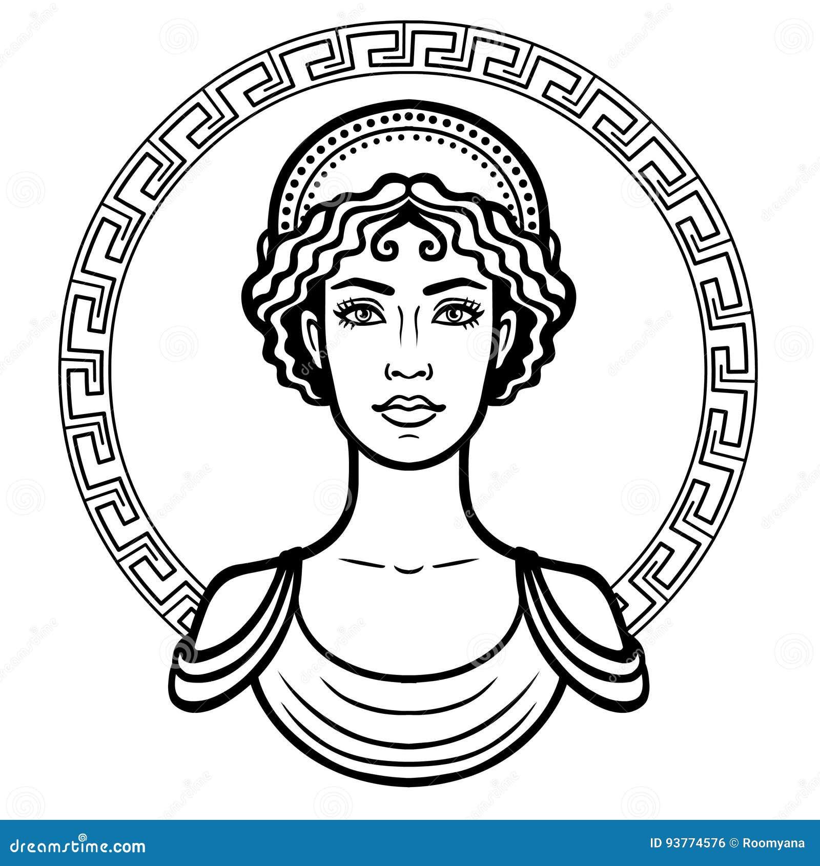 Lineares Portrat Der Jungen Griechischen Frau Mit Einer