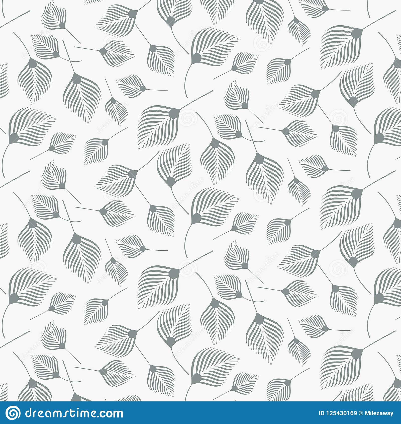 Lineares Vektormuster, die abstrakten Blätter wiederholend, linear vom Blatt oder von der Blume, mit Blumen grafisch säubern Sie