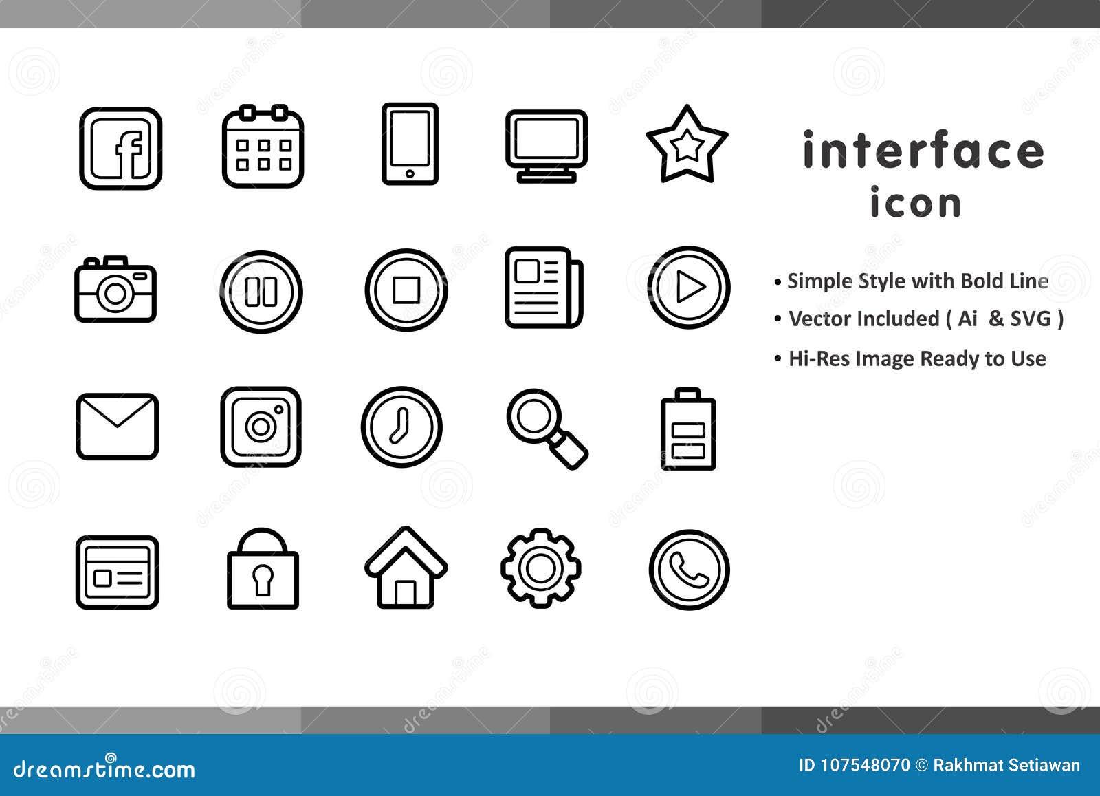 Linearni ikona sety dla strony internetowej