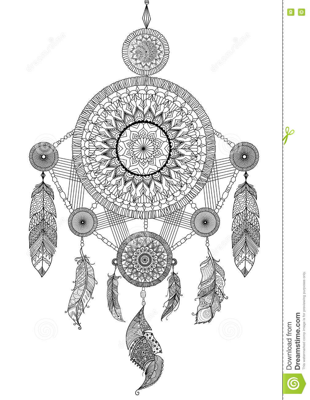 Coloring pages dream catchers - Lineart Design Of Beautiful Unique Dream Catcher For Illustration And Adult Coloring Book Pages Stock