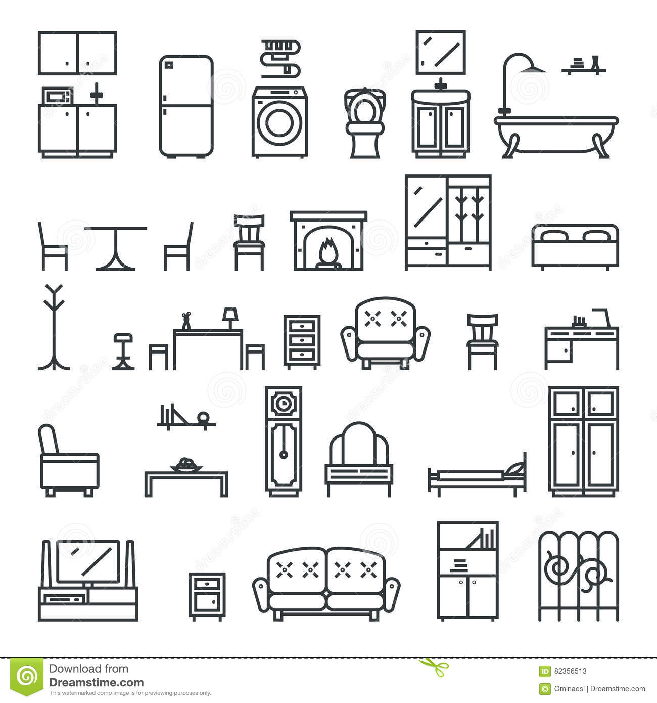 Flat furniture icons and symbols set for living room for Simbologia de planos arquitectonicos pdf