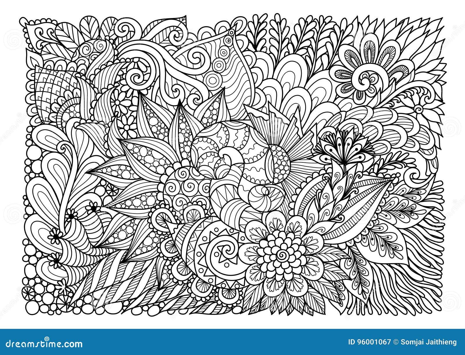 Lineart Floral Abstrato Para O Fundo E A Pagina Do Livro Para