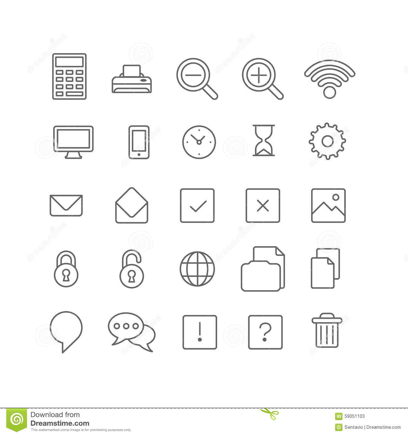 Line Drawing Icons : Lineart vector flat web site mobile interface app icons