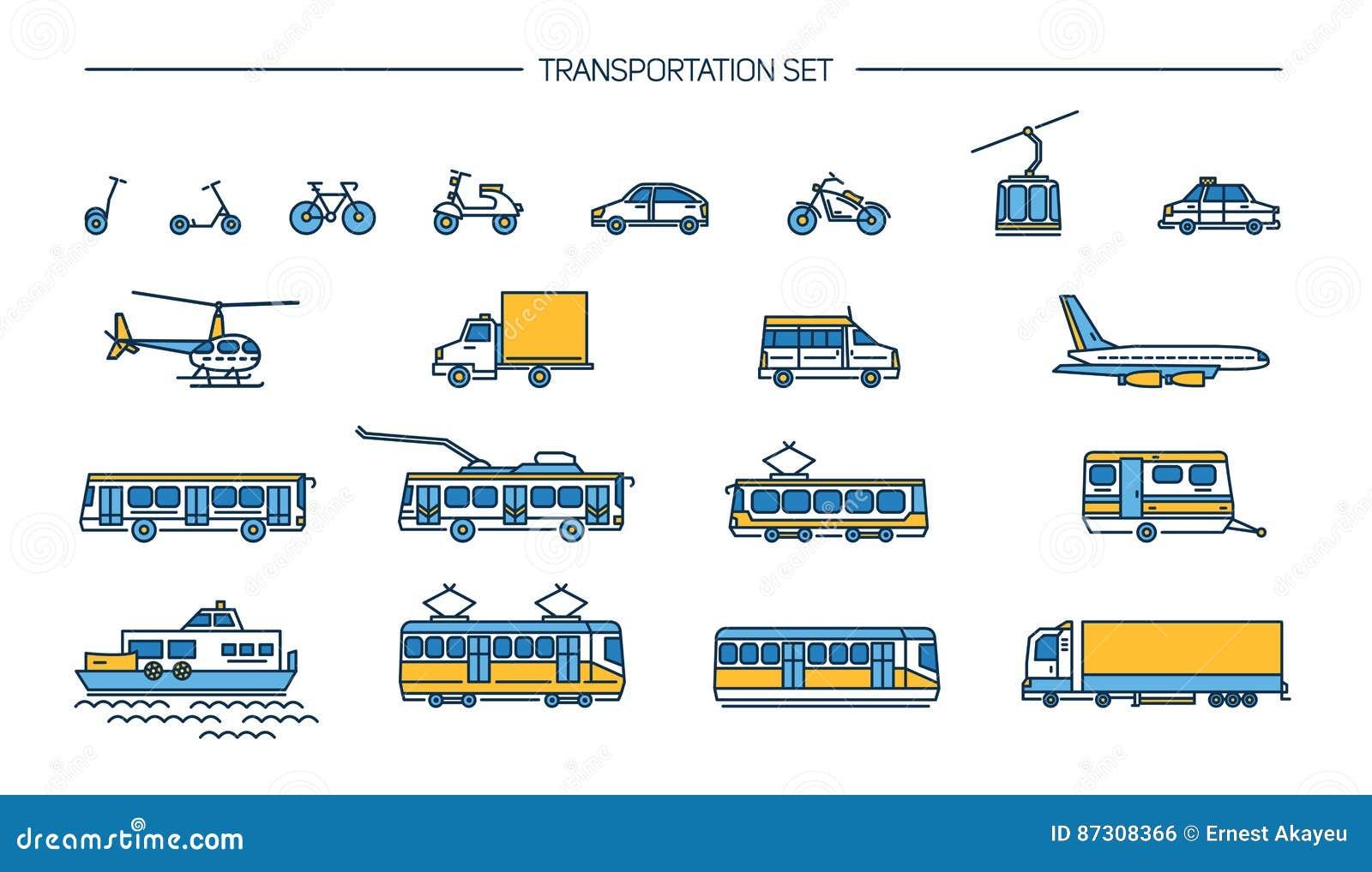 Lineartpictogram dat met grondvervoer, luchtvaart en watervervoer wordt geplaatst op witte achtergrond Inzameling met fiets, bus