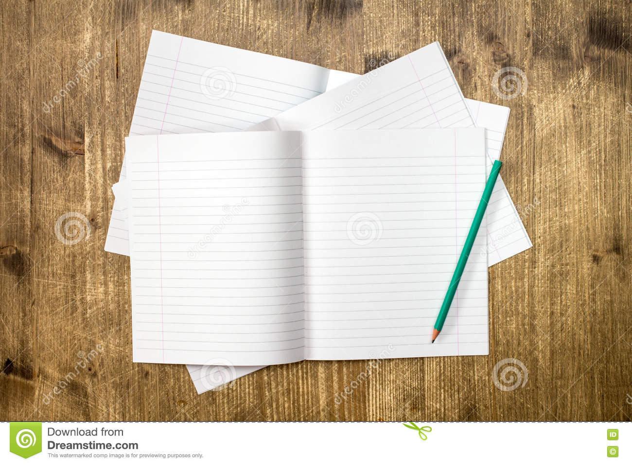 Lined Exercise Books And Pencil Stock Image - Image of open
