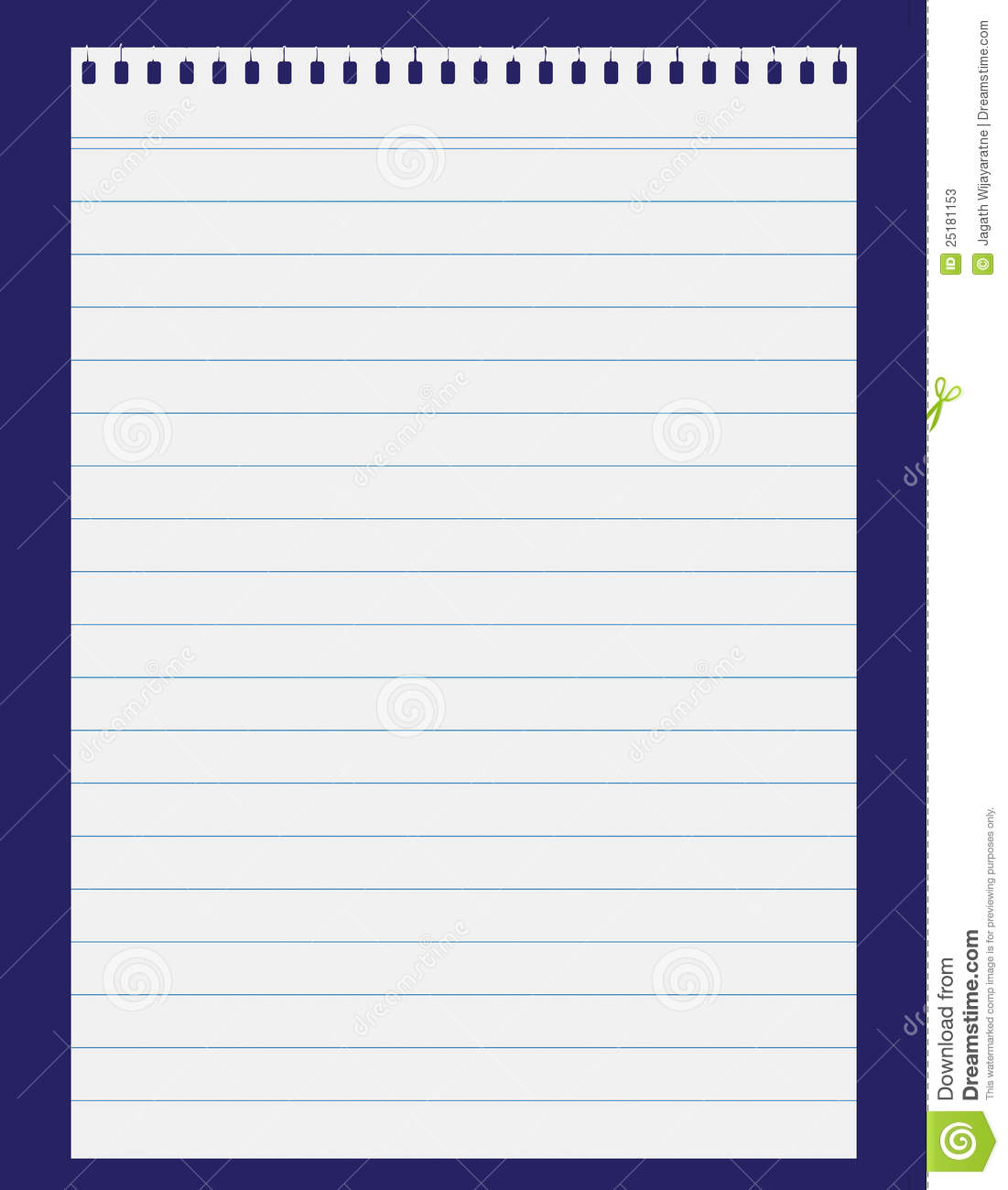 Lined Paper On Blue Backgroung Stock Photos - Image: 25181153