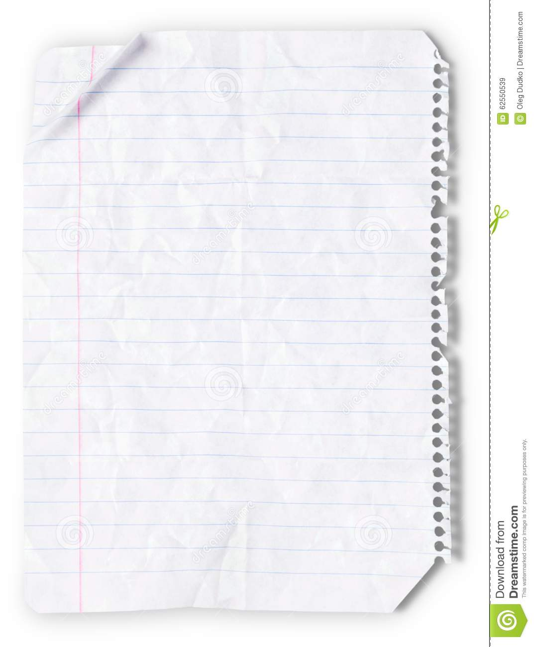 Download Lined Paper stock image. Image of image, blank, crumpled - 62550539