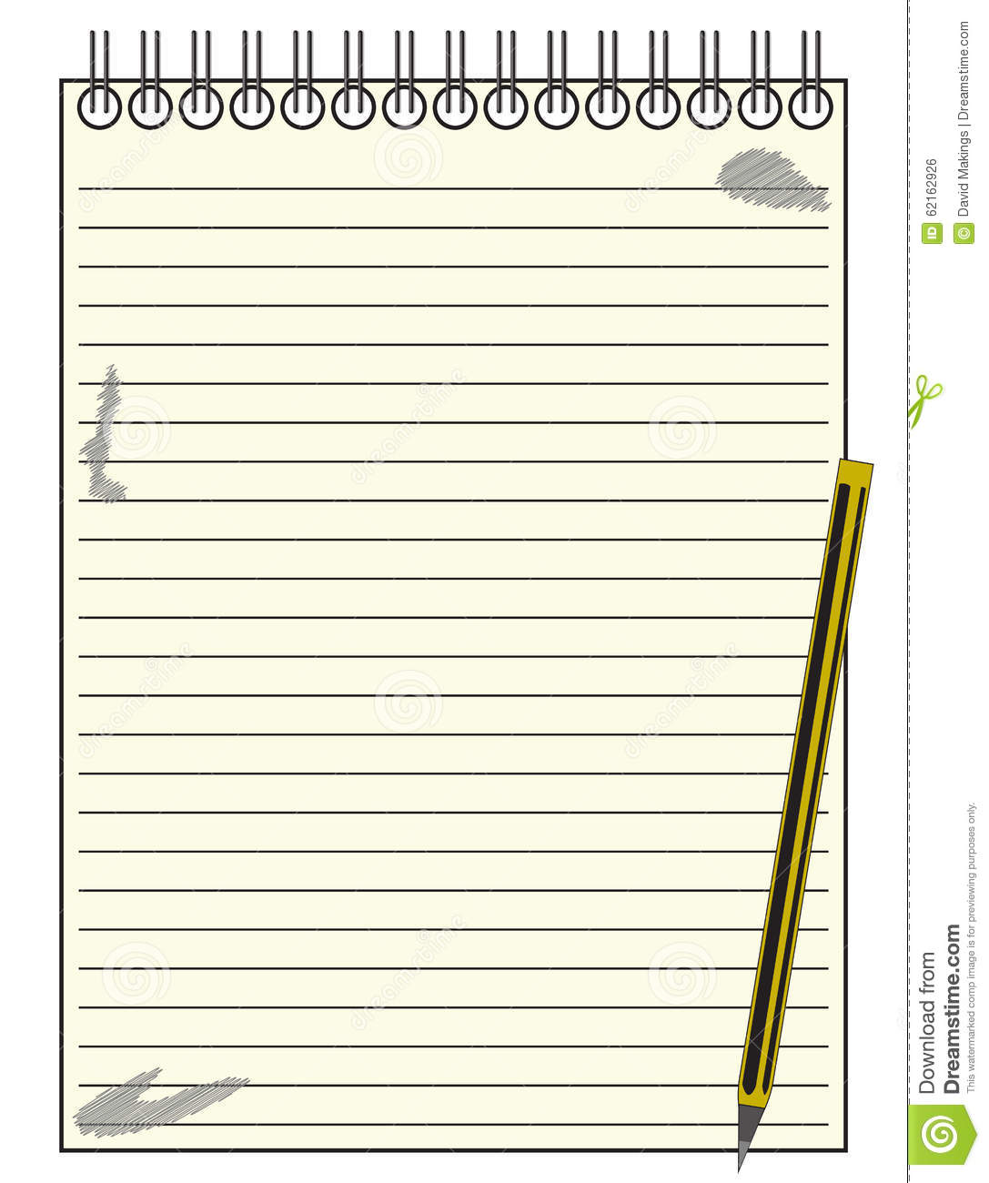 Lined Reporter Notepad With Pencil Illustration Image – Notepad Template Word