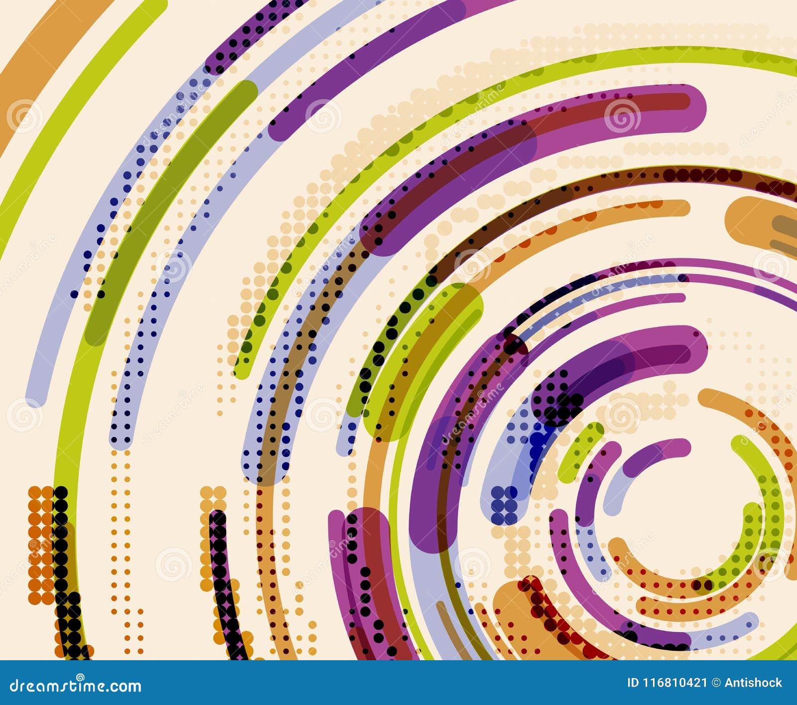 Linee circolari, cerchi, fondo astratto geometrico