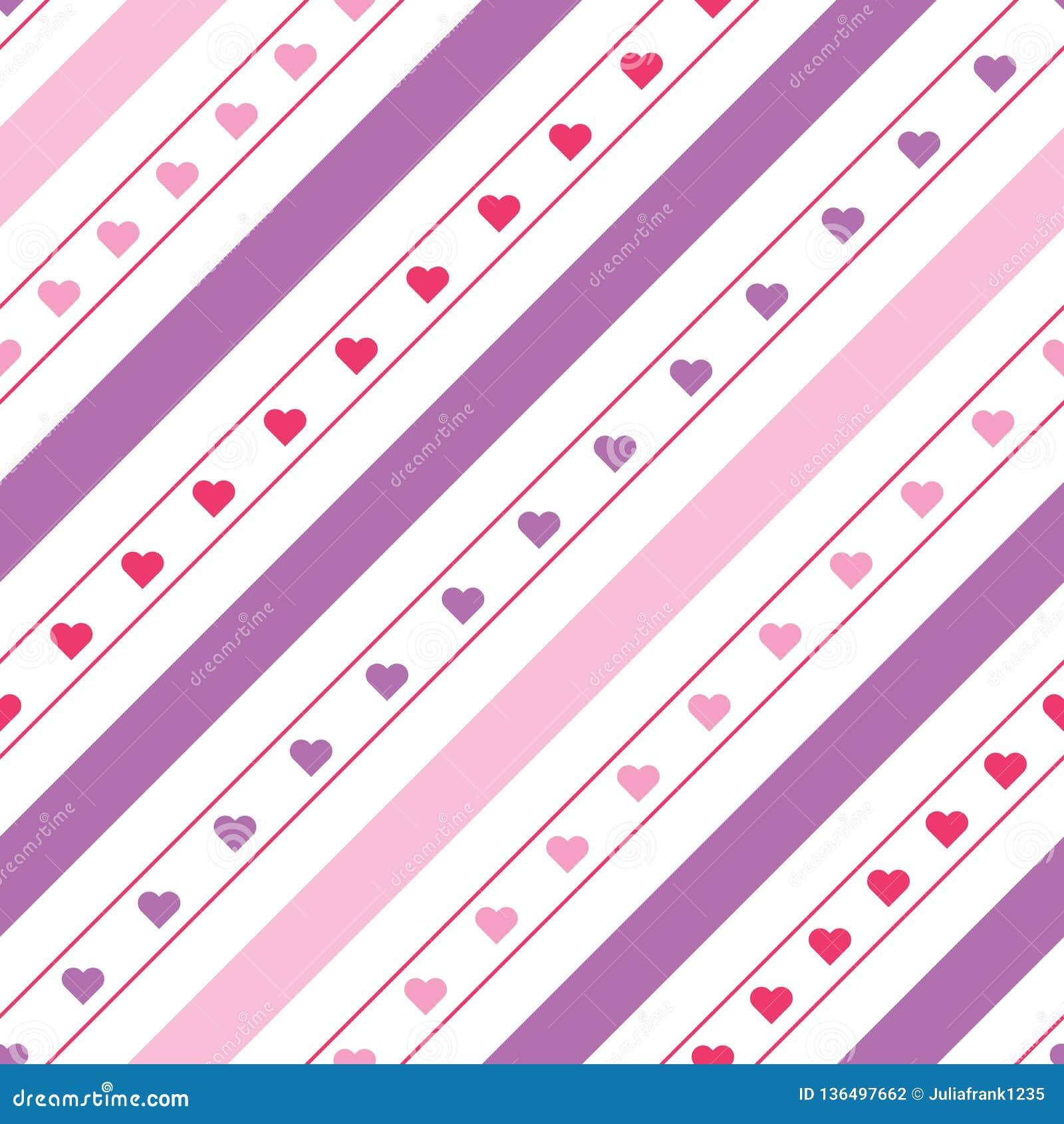 Linee diagonali modello senza cuciture di vettore con i cuori