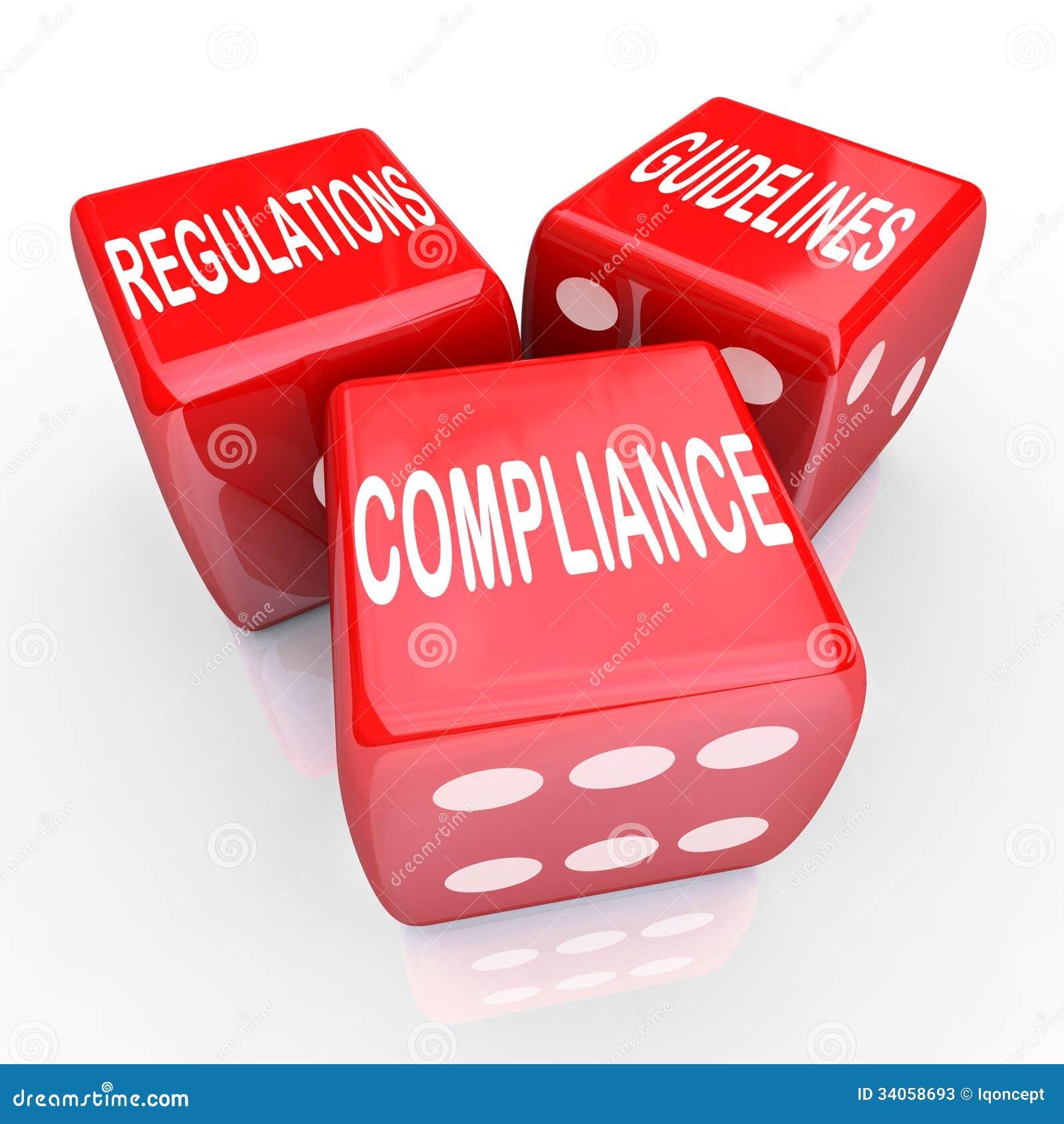 Linee guida di regolamenti di conformità tre parole dei dadi