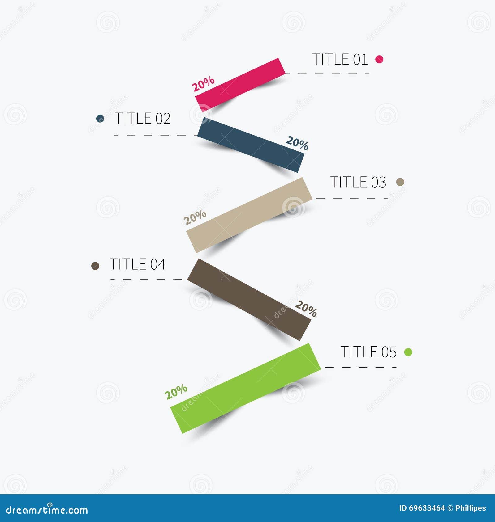 5 linee infographic livellate della carta del taglio