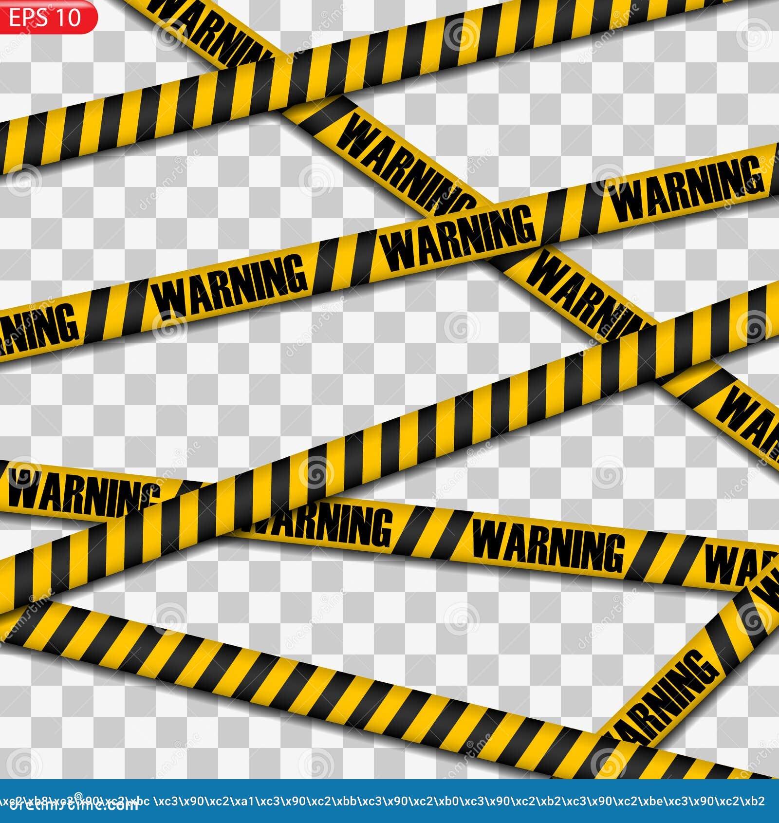 Linee nere e gialle di cautela isolate