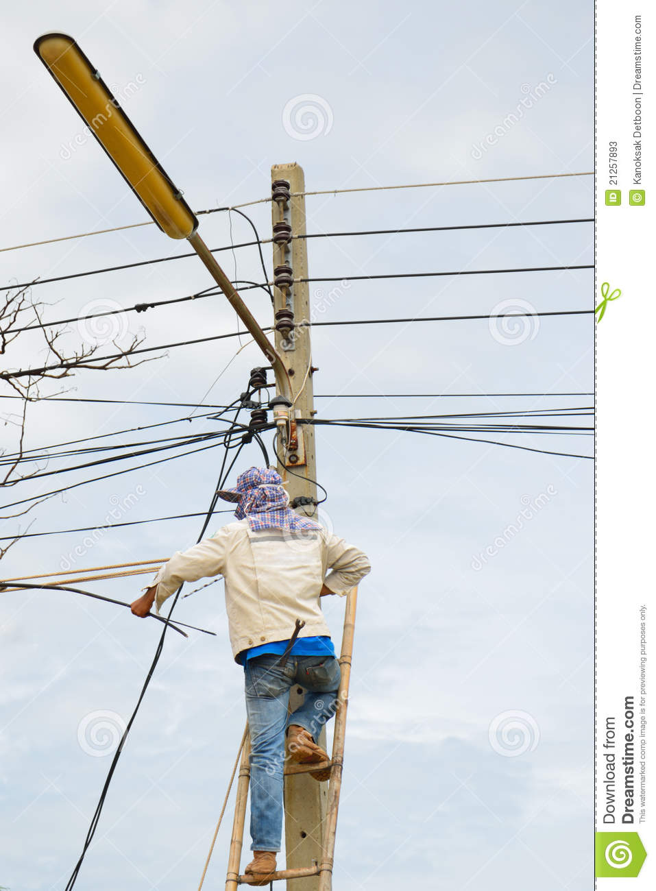 A Lineman Working On Cable Stock Image Image Of Failure
