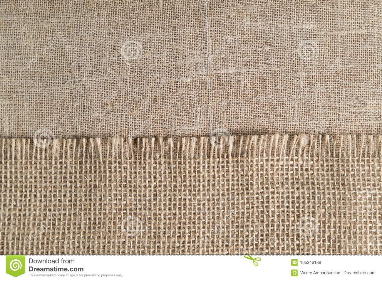 Linen cloth, napkin with the big texture is on the background of the other table cloths