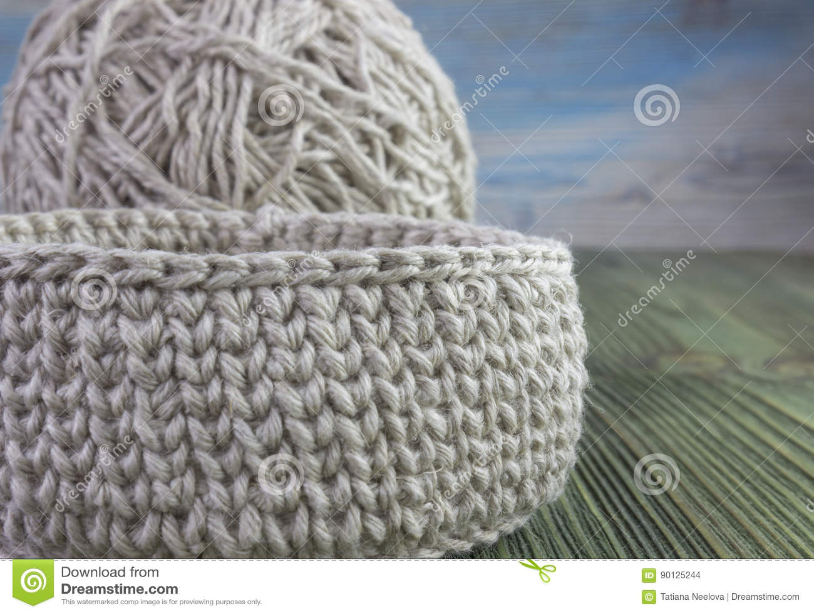Linen Rustic Crochet Box Yarn Ball And Crochet Hook Natural
