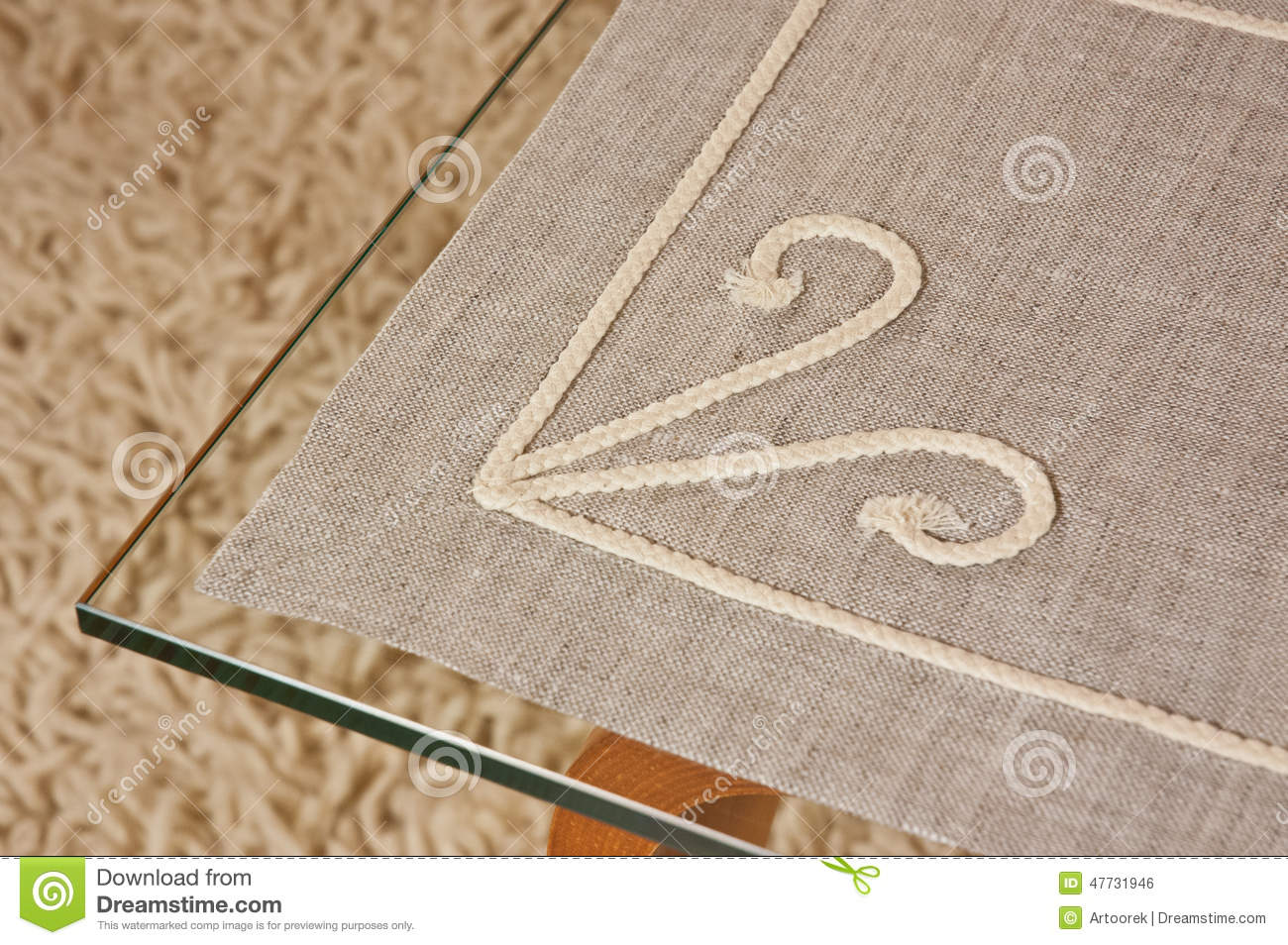 Perfect Linen Tablecloth On A Glass Table Stock Photo   Image Of Background,  Checks: 47731946